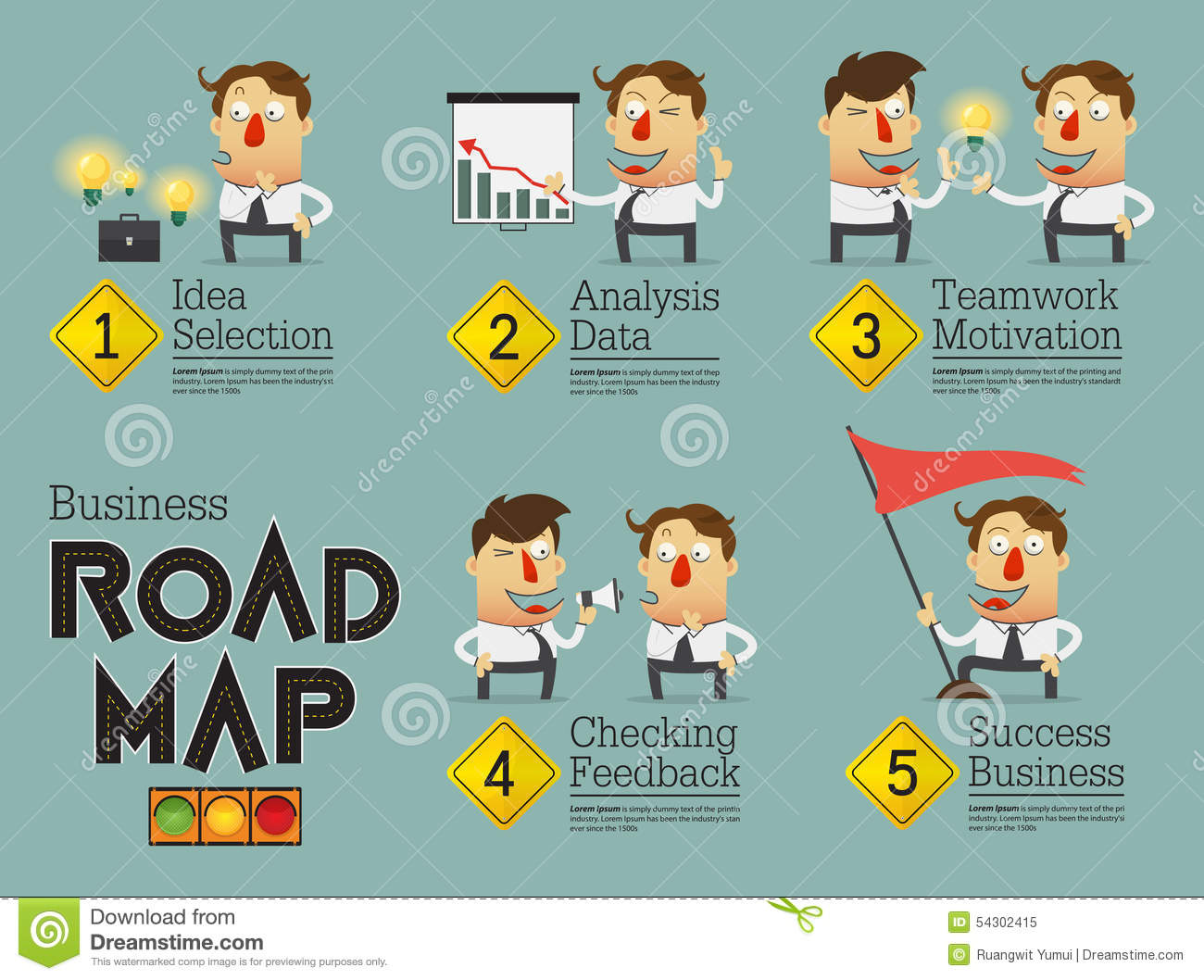 Business Planning Roadmap Infographic. Cartoon Character. Stock Vector ...