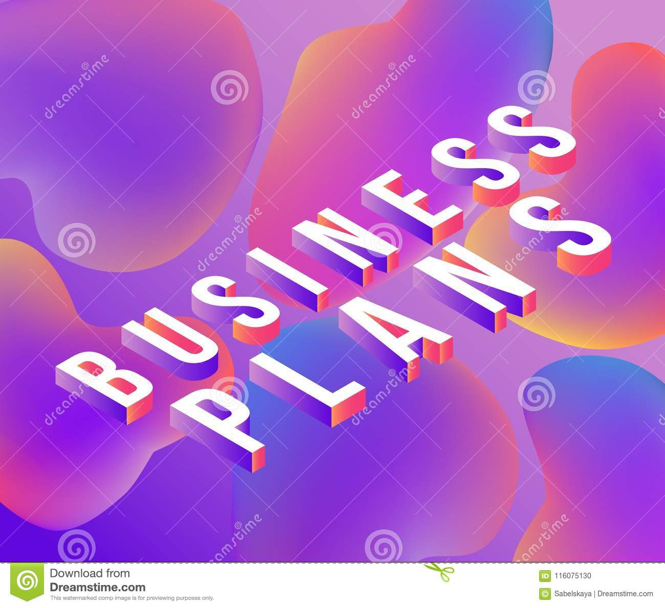 Business Plans Isometric Text Design With Letters On Abstract ...