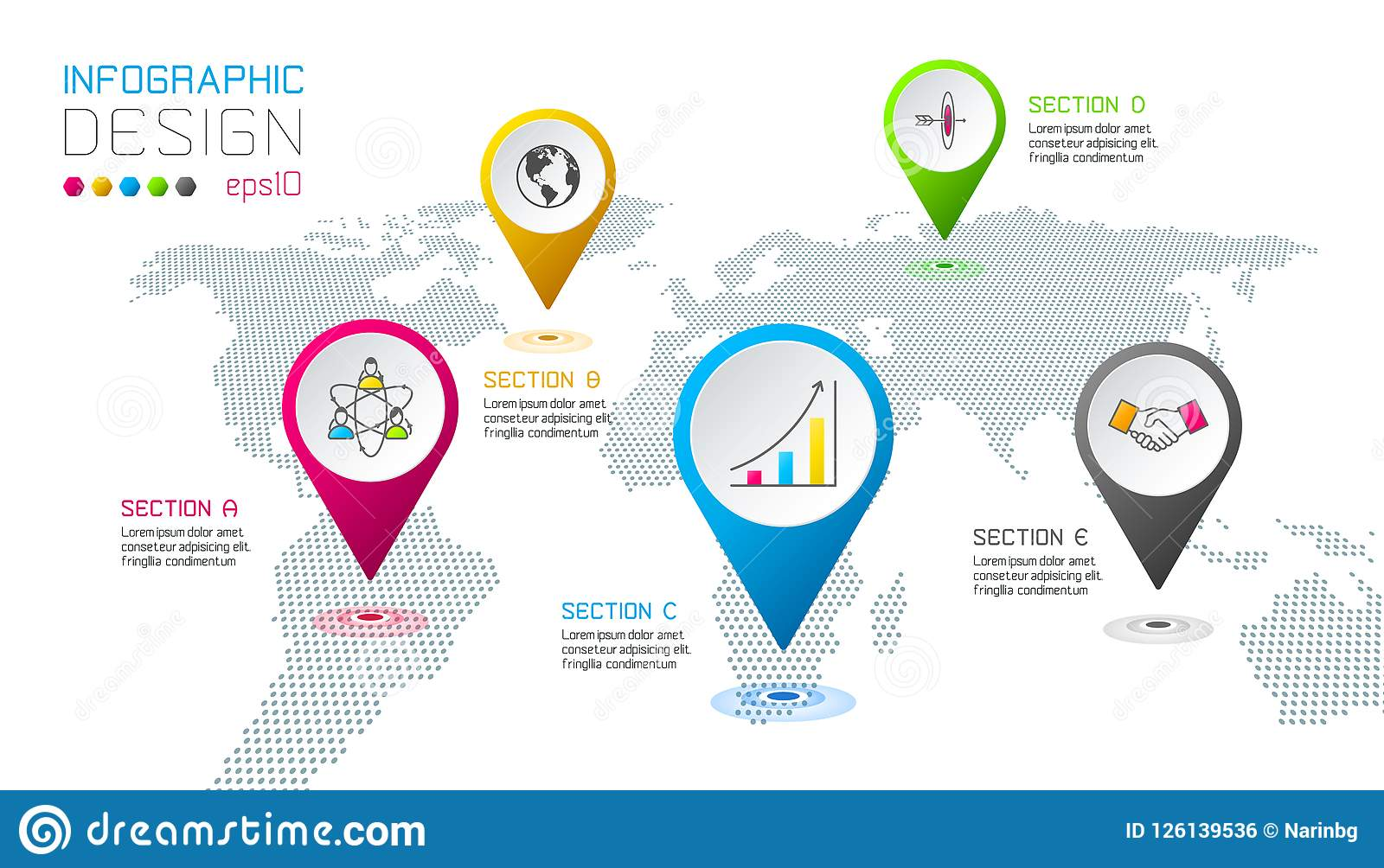 Business Pointing Labels Shape Infographic Around The World Map ...