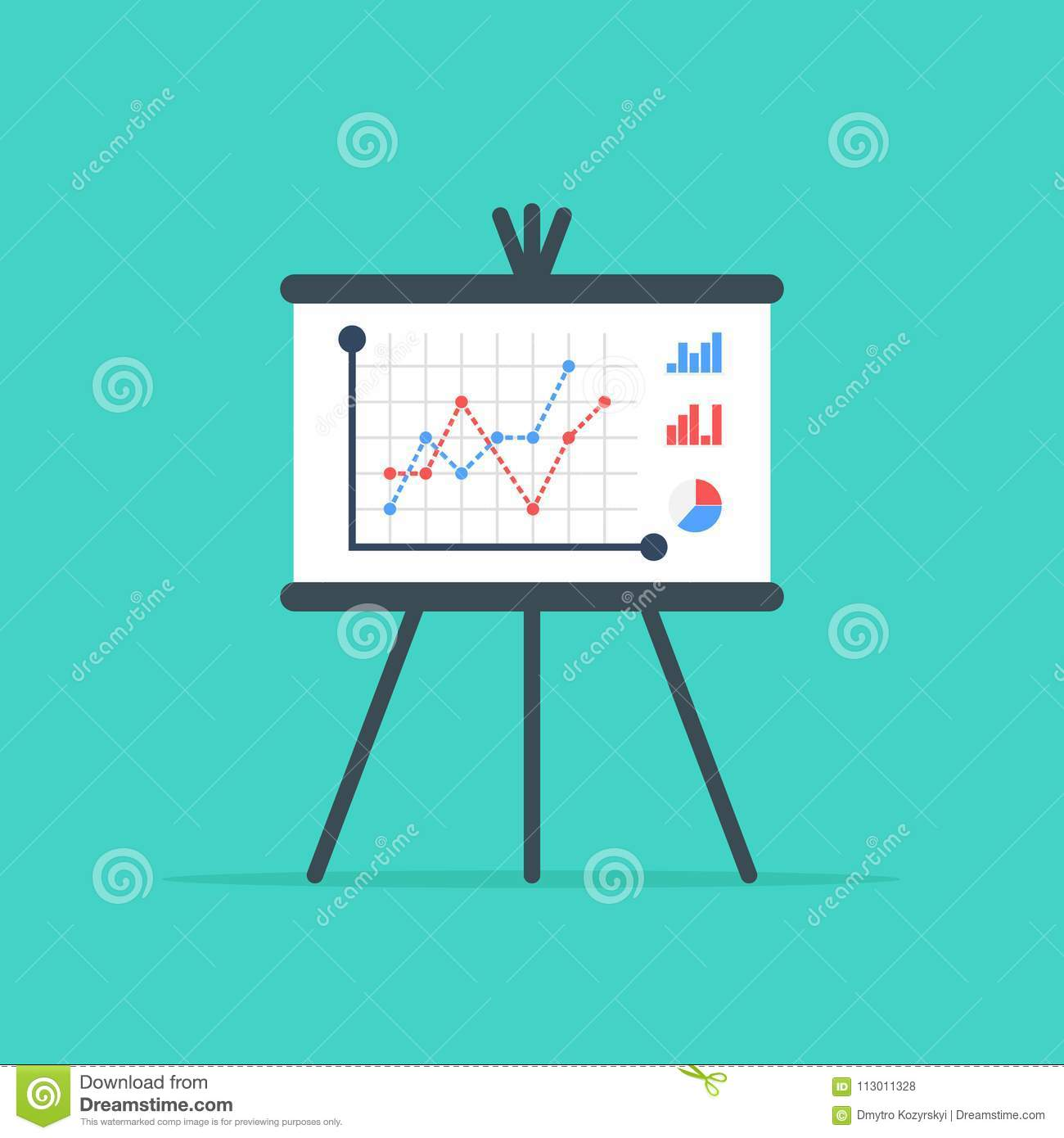 Business Presentation Board. Flip Chart With Growing Graph, Diagram ...