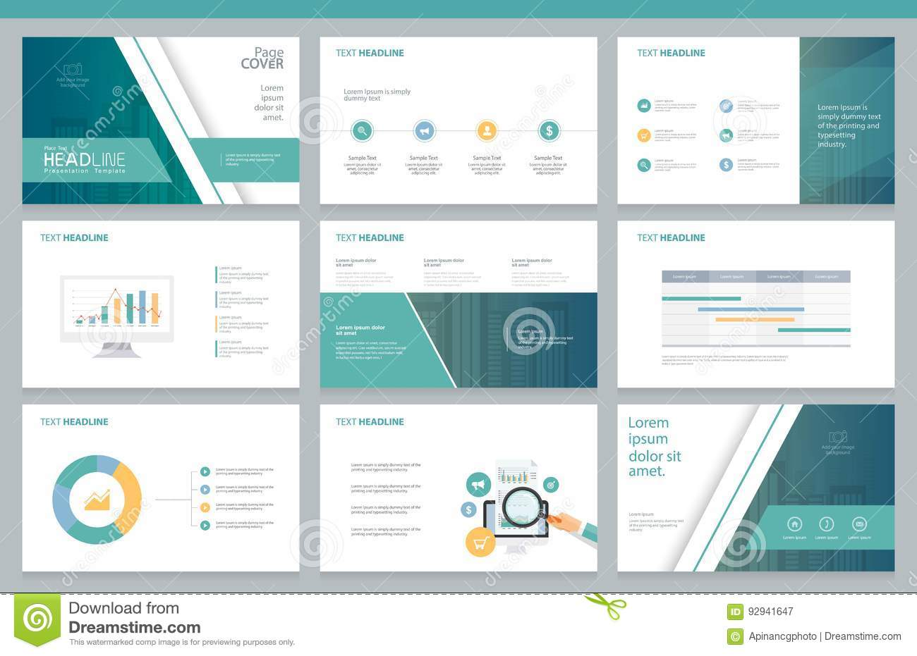 Business presentation design template and page layout for for Company layout