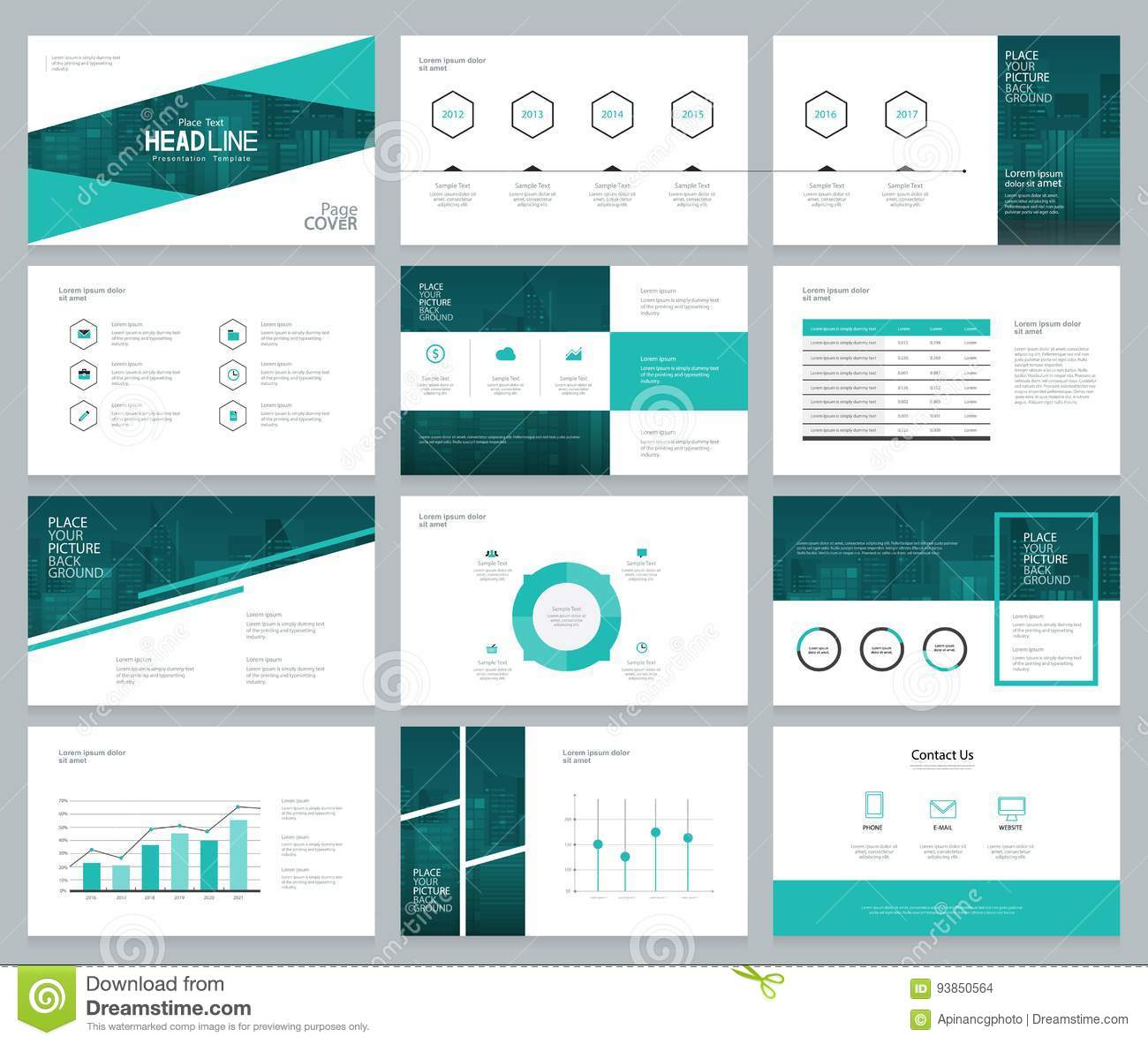 business presentation design template and page layout with cover, Powerpoint templates