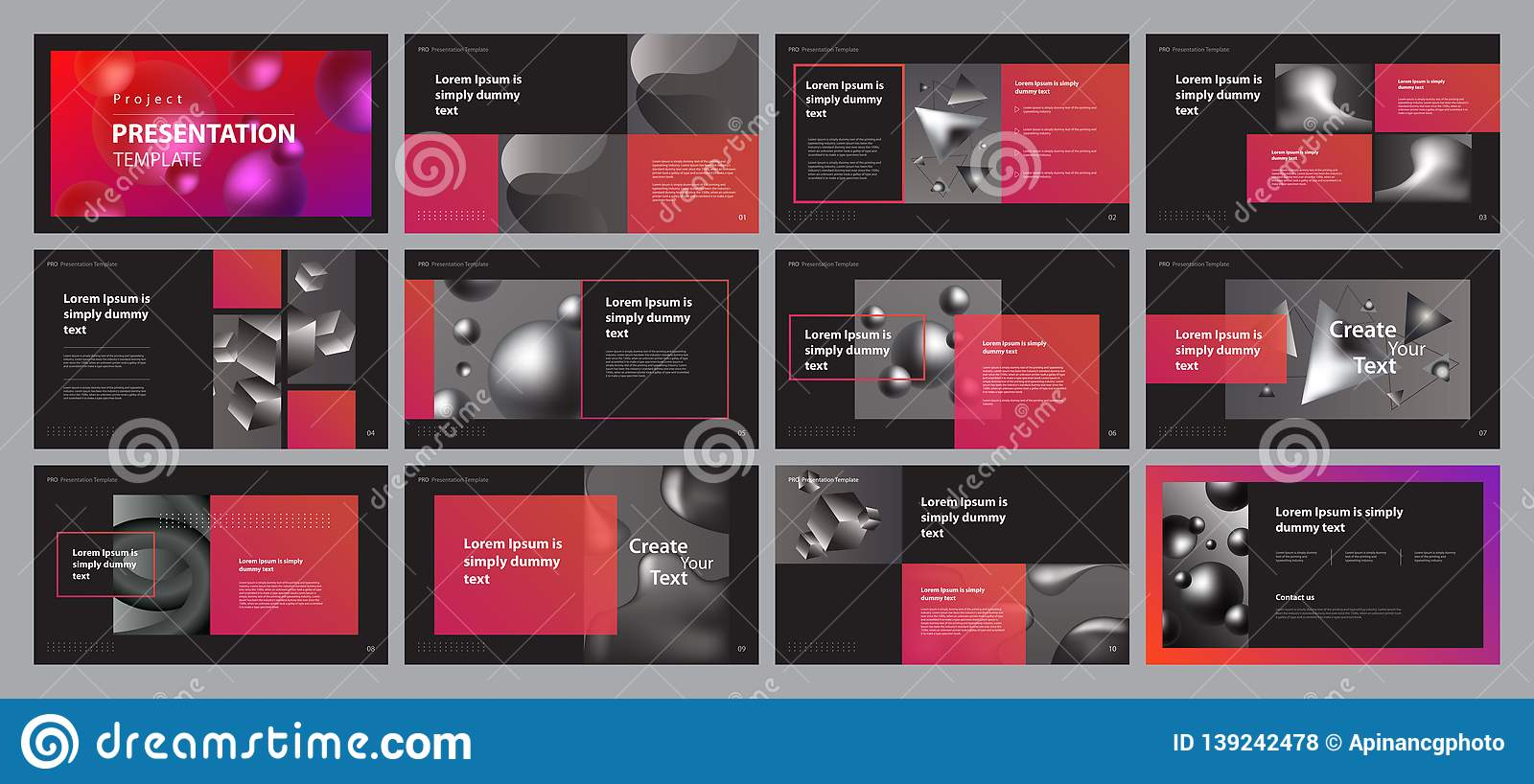 Business Presentation Design Template With Page Layout
