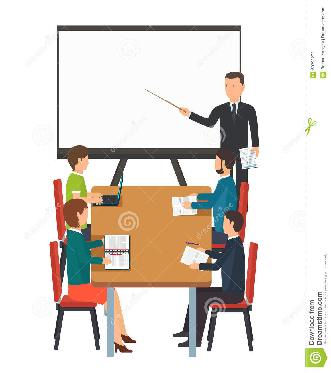 Collaborative Classroom Presentation ~ Business presentation for group of people stock vector