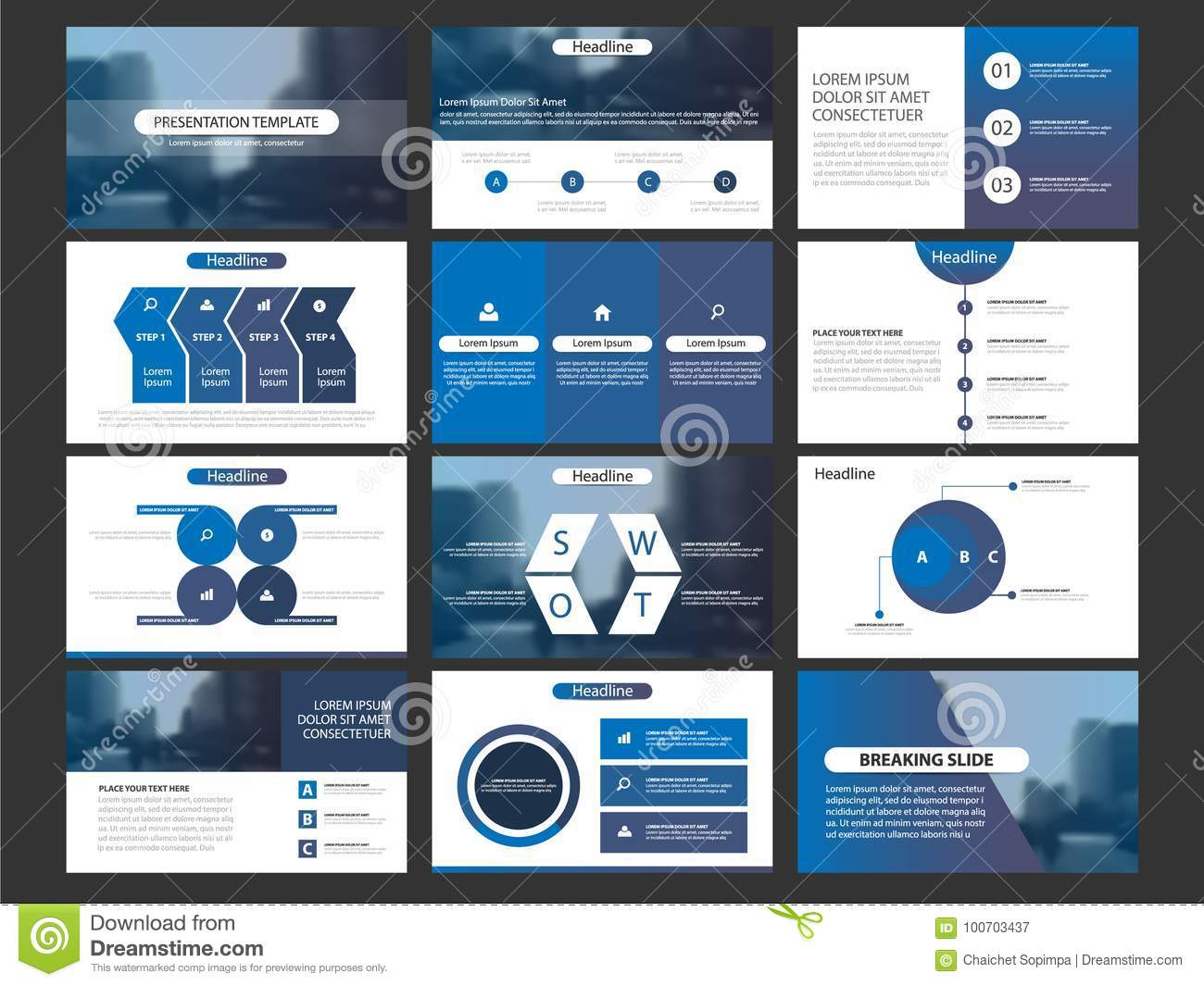 Business Presentation Infographic Elements Template Set
