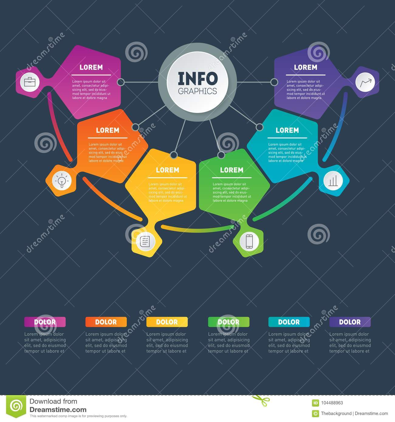 Website Site Map Examples: Business Presentation Or Infographic Examples With 6