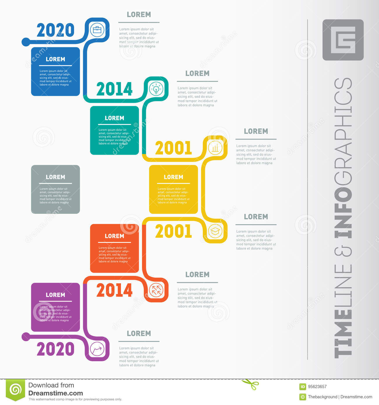 business presentation or timeline concept with 5 options web te