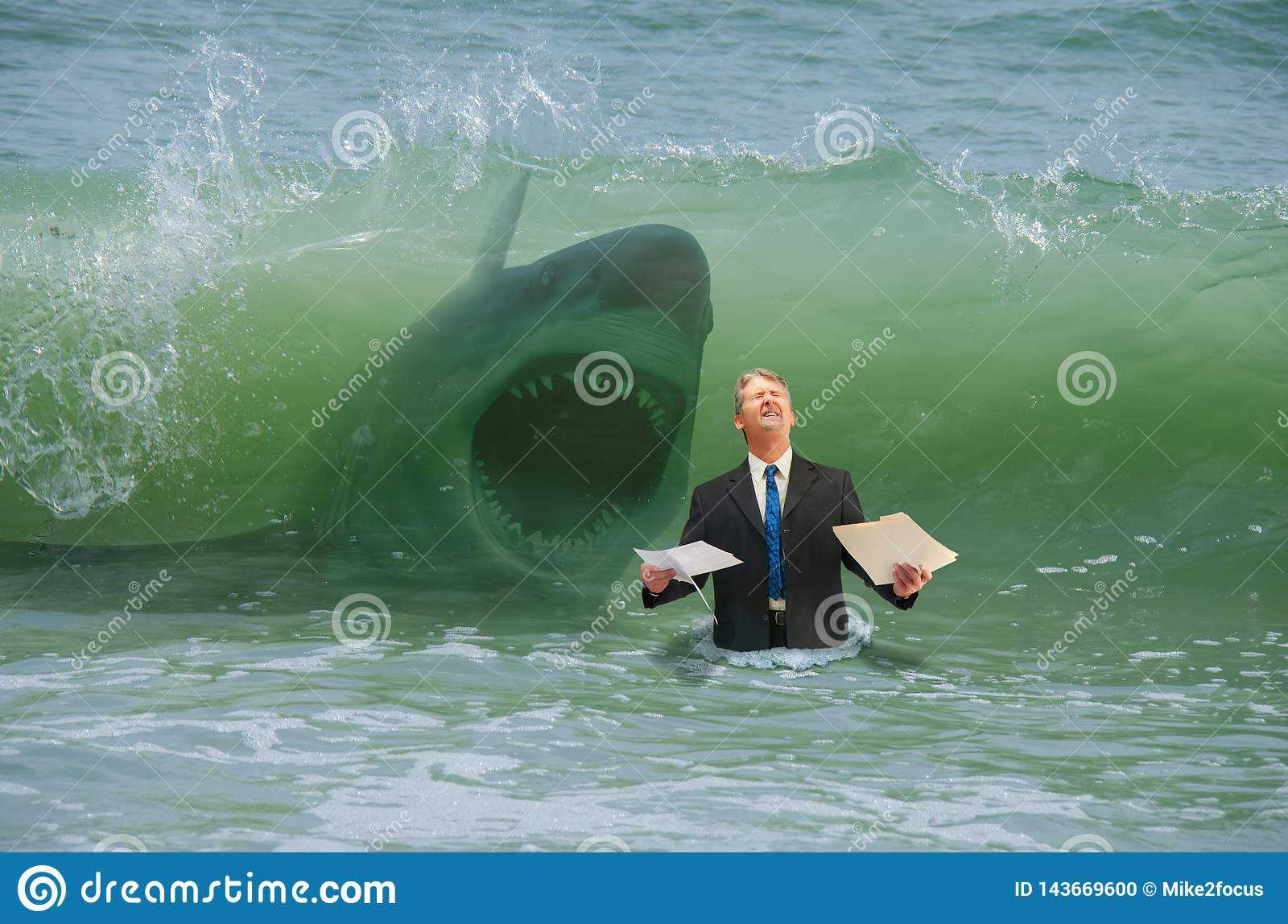 Business pressure man getting hit by wave with attacking shark