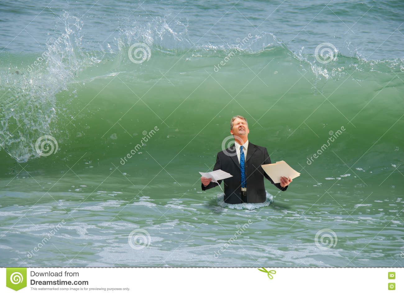 Business pressure man getting hit by wave