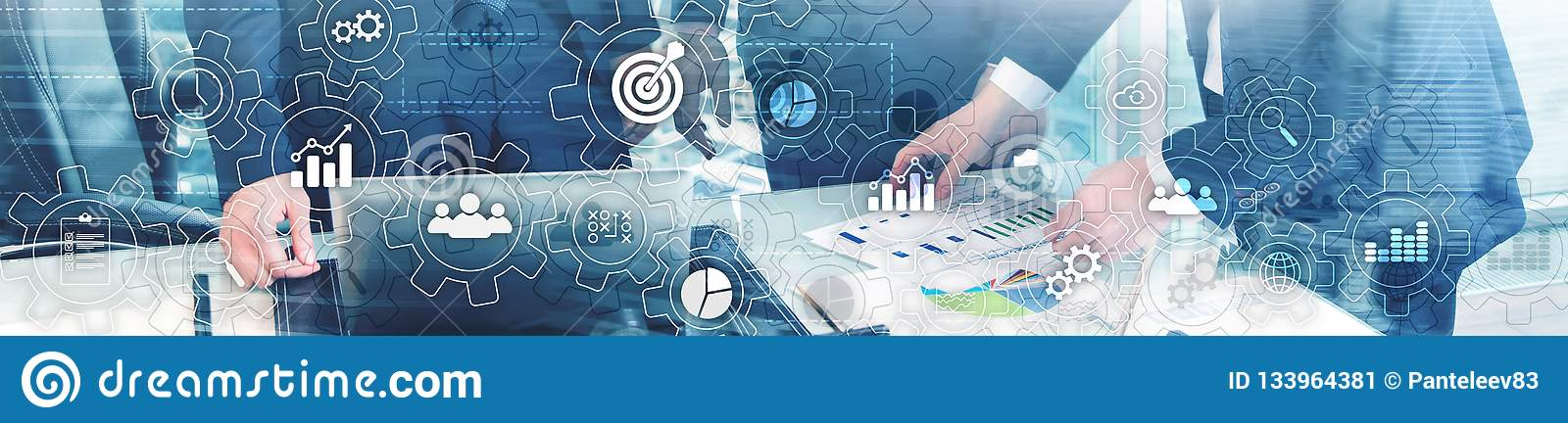 Business process abstract diagram with gears and icons. Workflow and automation technology concept. Website header