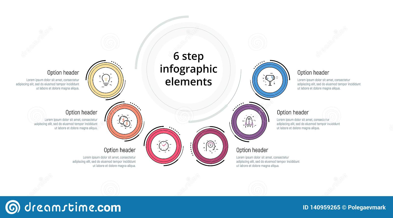 Business process chart infographic with 6 step circles. Circular corporate workflow graphic elements. Company flowchart