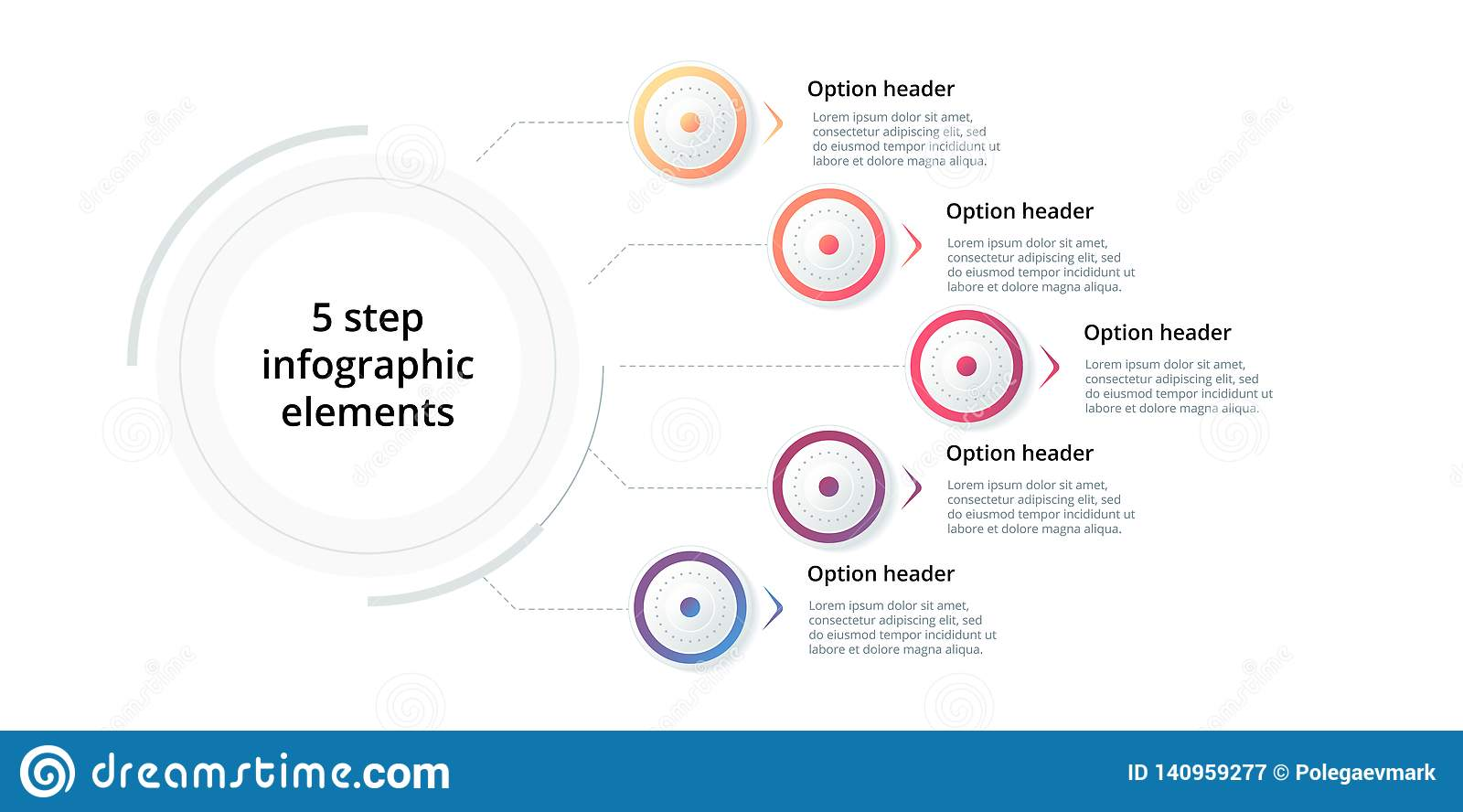 Business process chart infographic with 5 step circles. Circular corporate workflow graphic elements. Company flowchart