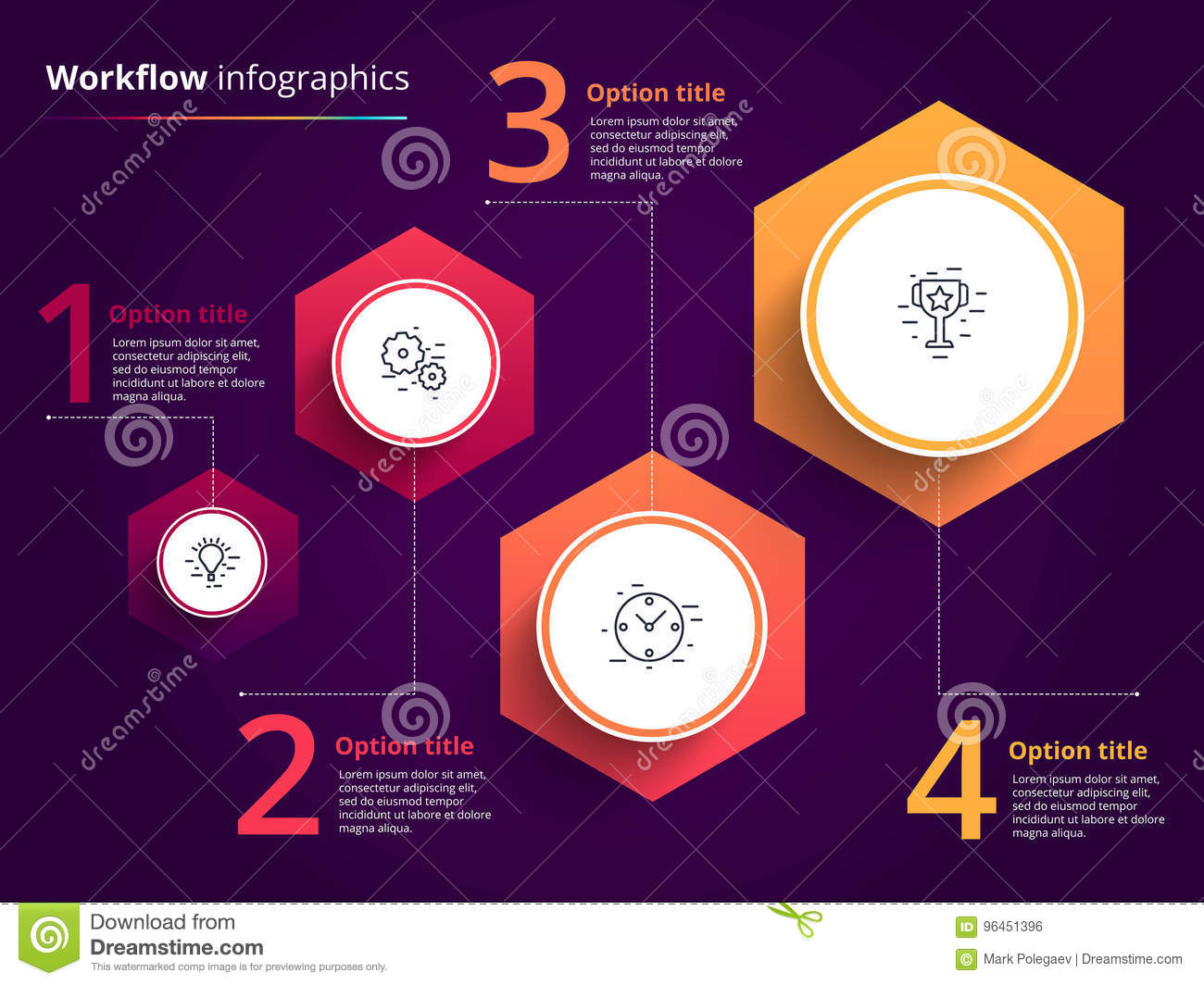 Business process chart infographics with 4 step circles. Circular corporate workflow graphic elements. Company flowchart