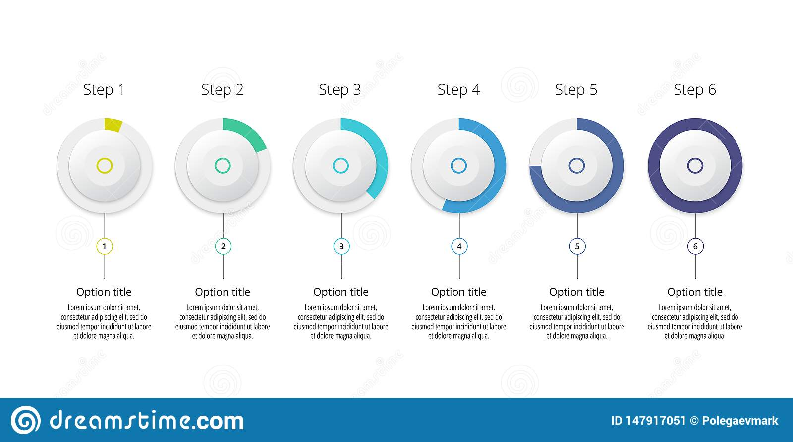 Business process chart infographics with 6 step circles. Circular corporate workflow graphic elements. Company flowchart