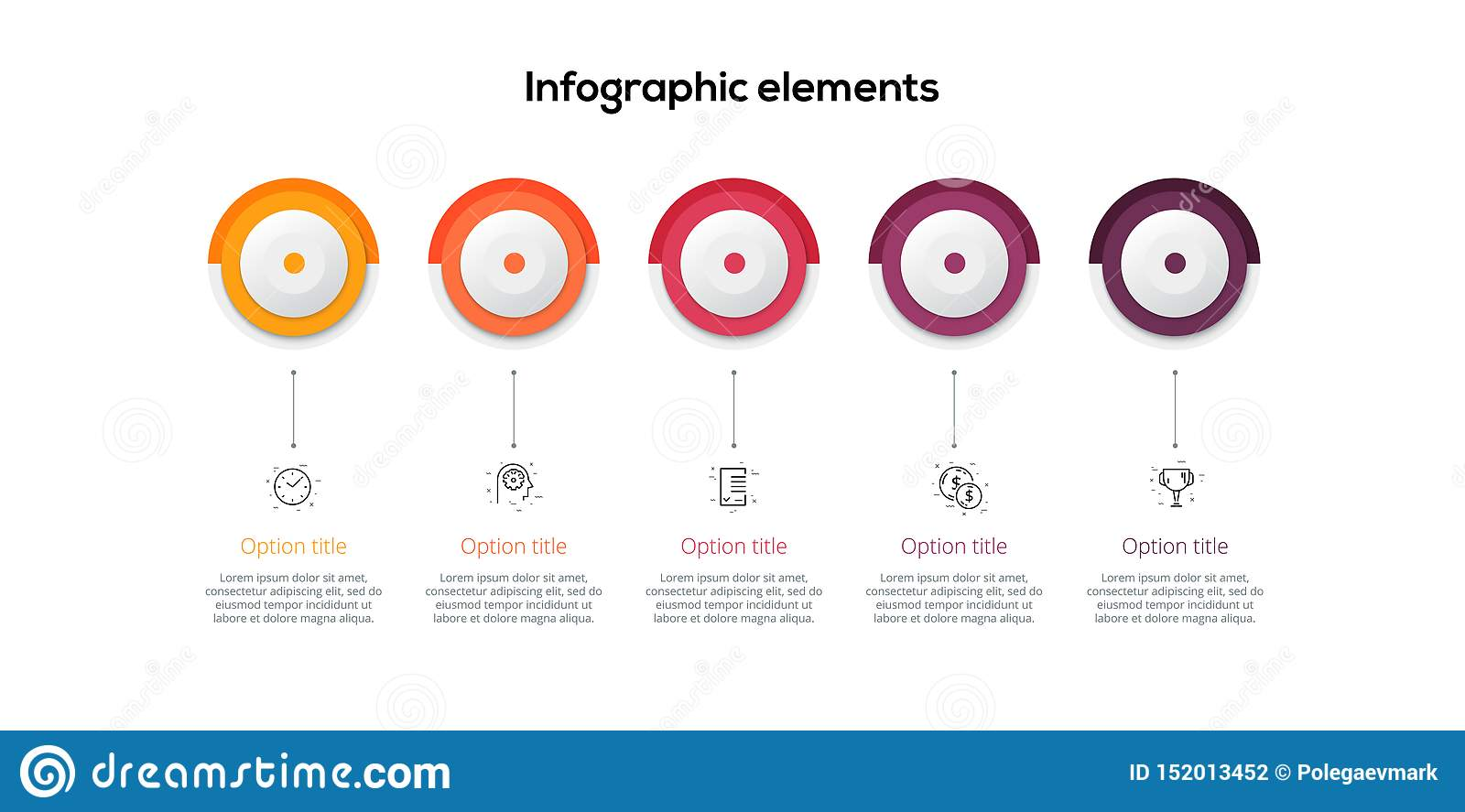 Business process chart infographics with 5 step circles. Circular corporate workflow graphic elements. Company flowchart