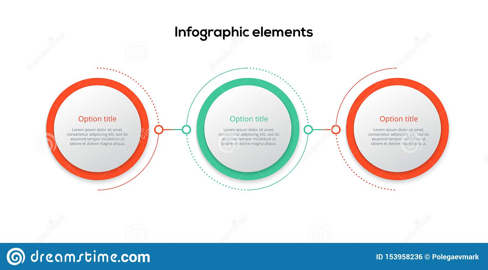 Business process chart infographics with 3 step circles. Circular corporate workflow graphic elements. Company flowchart