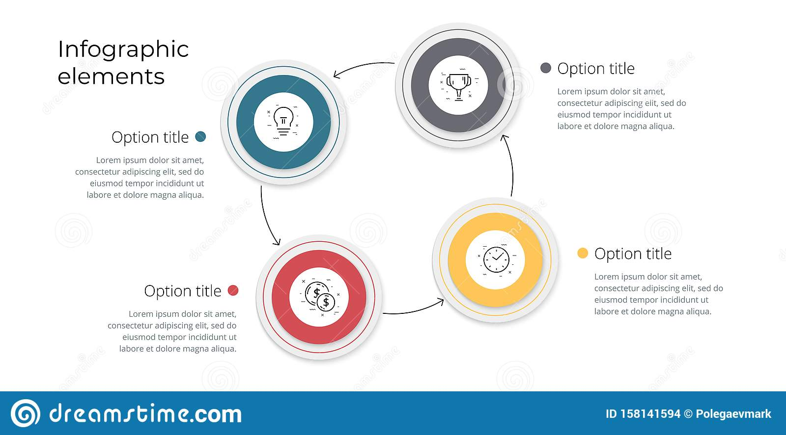 Business process chart infographics with 4 step options. Square corporate workflow graphic elements. Company flowchart
