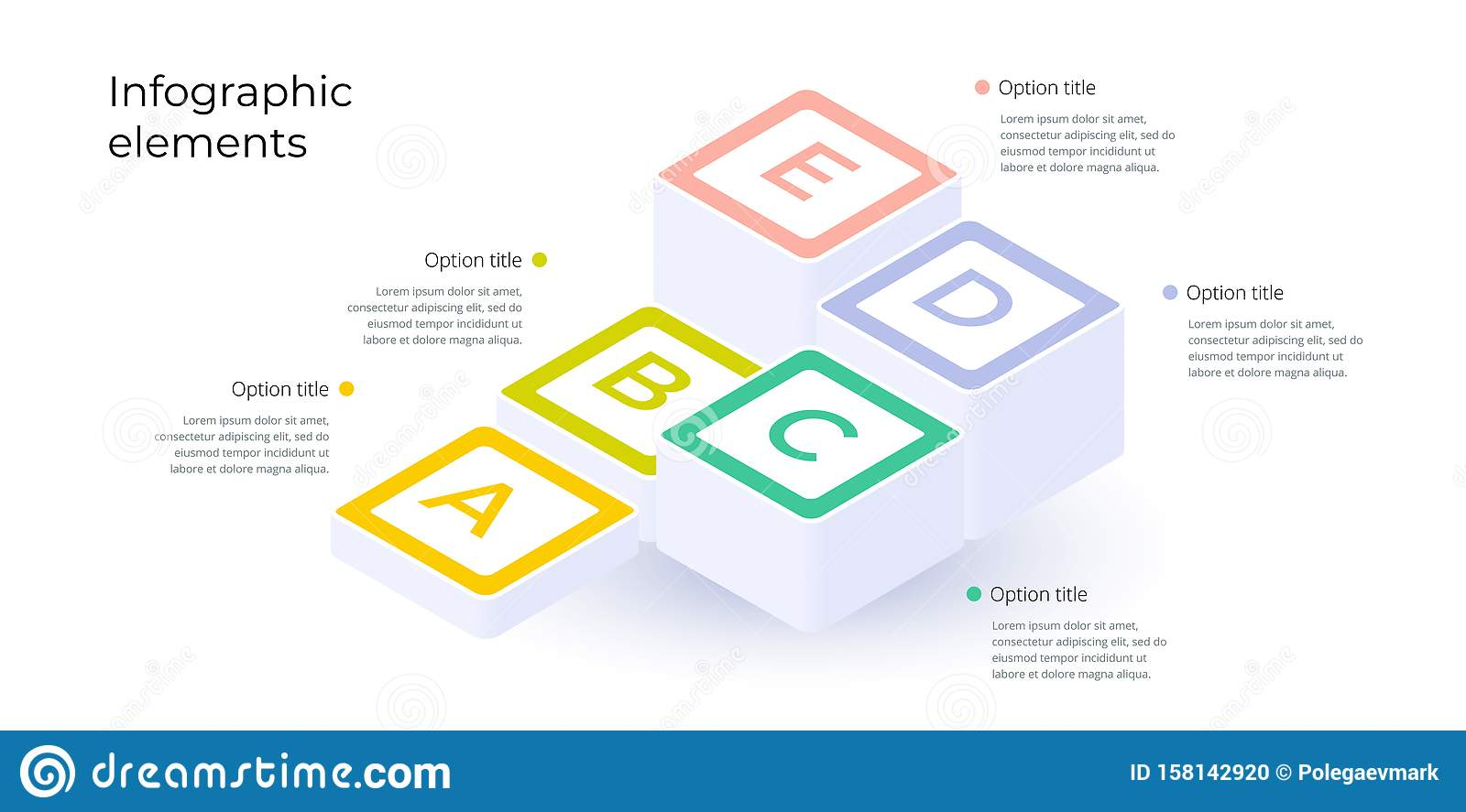Business process chart infographics with 5 step options. Square corporate workflow graphic elements. Company flowchart