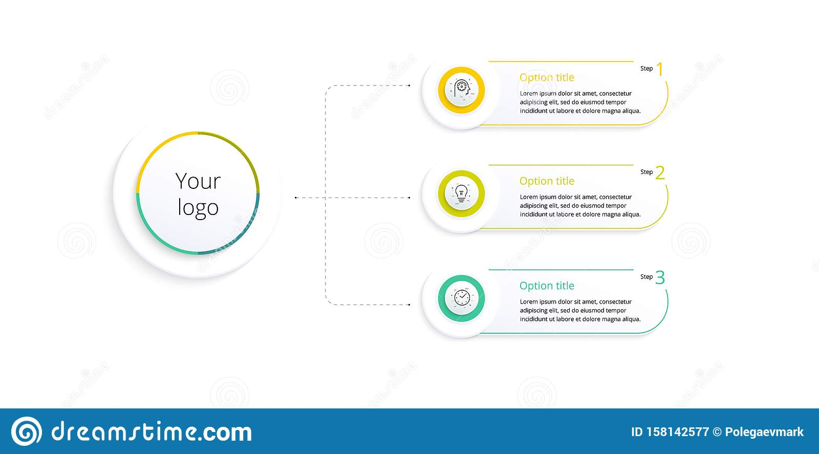 Business process chart infographics with 3 step options. Square corporate workflow graphic elements. Company flowchart