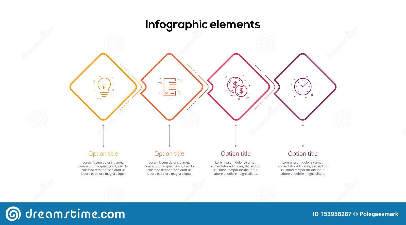 Business process chart infographics with 4 step rhombs. Square corporate workflow graphic elements. Company flowchart presentation