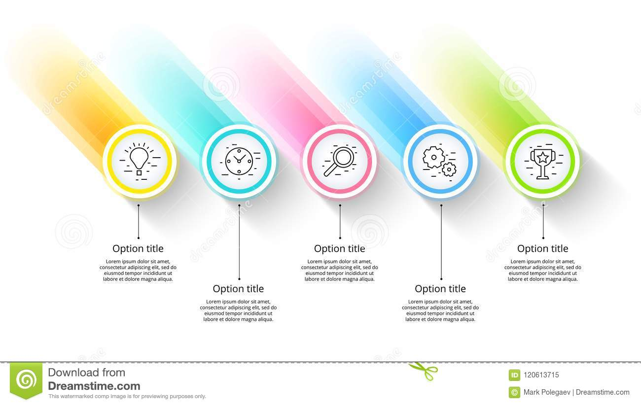Business process chart infographics with 5 step segments. Circular corporate timeline infograph elements. Company presentation