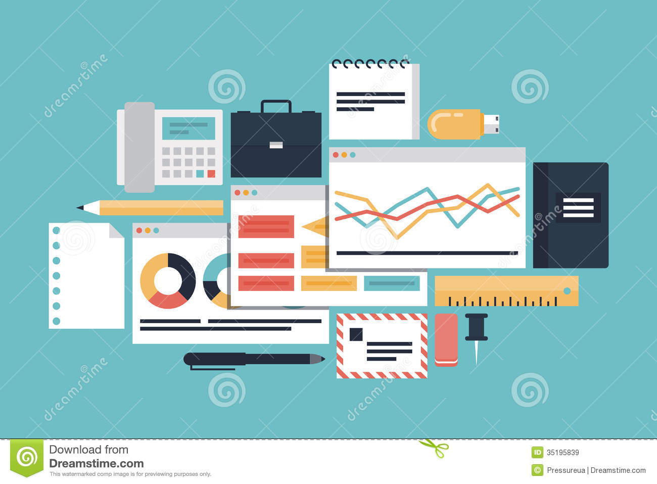 Business Productivity Illustration Concept Royalty Free
