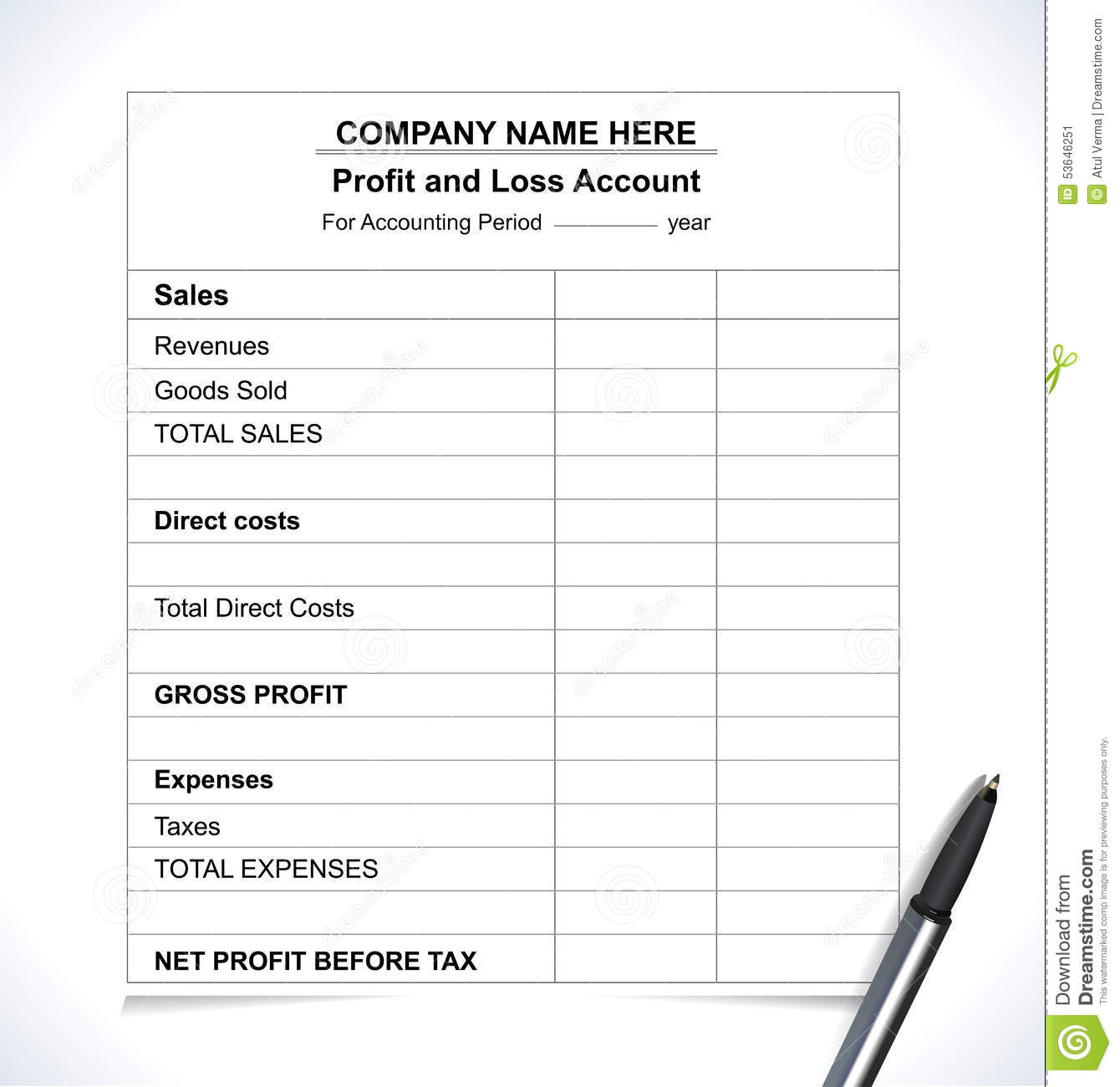Business Profit And Loss Analysis Report Accountancy Sheet Stock ...