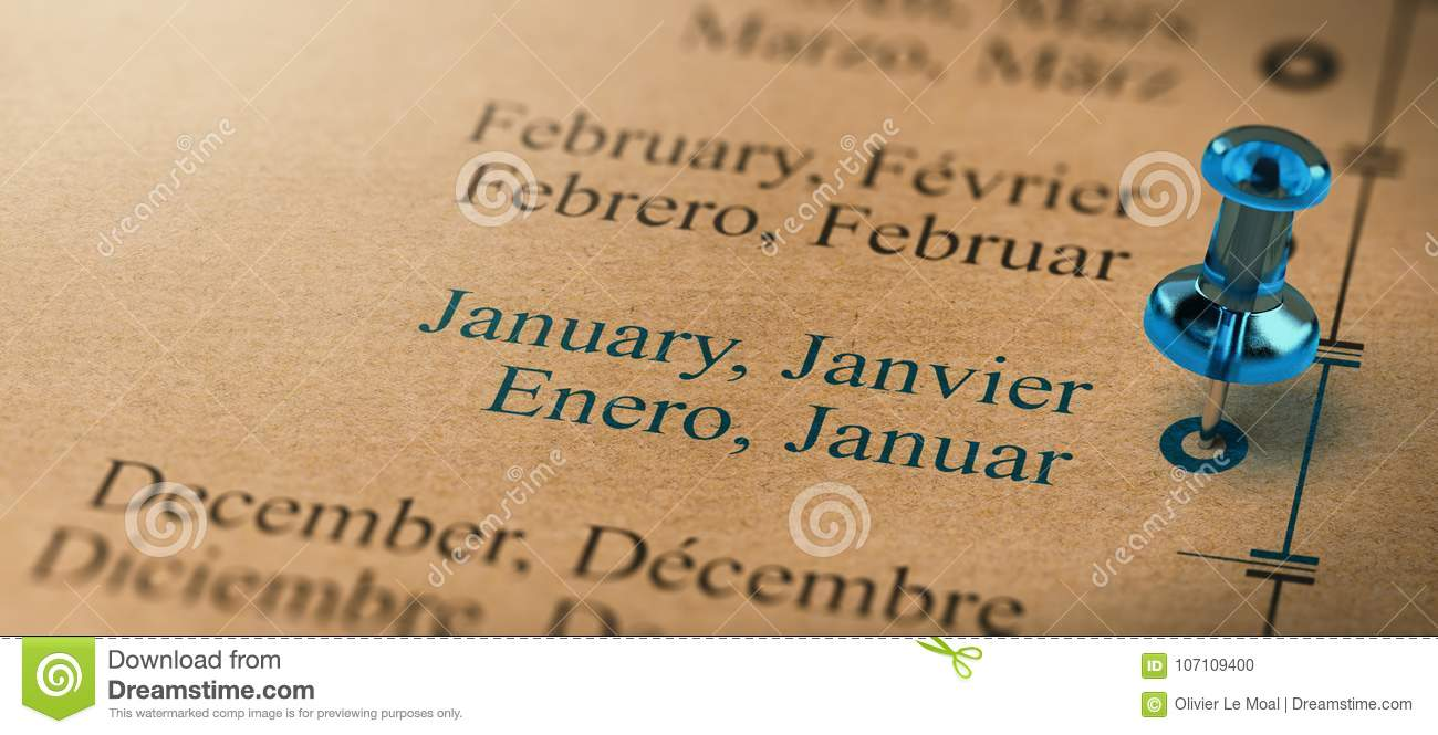 business or project planning timeline focus on january stock