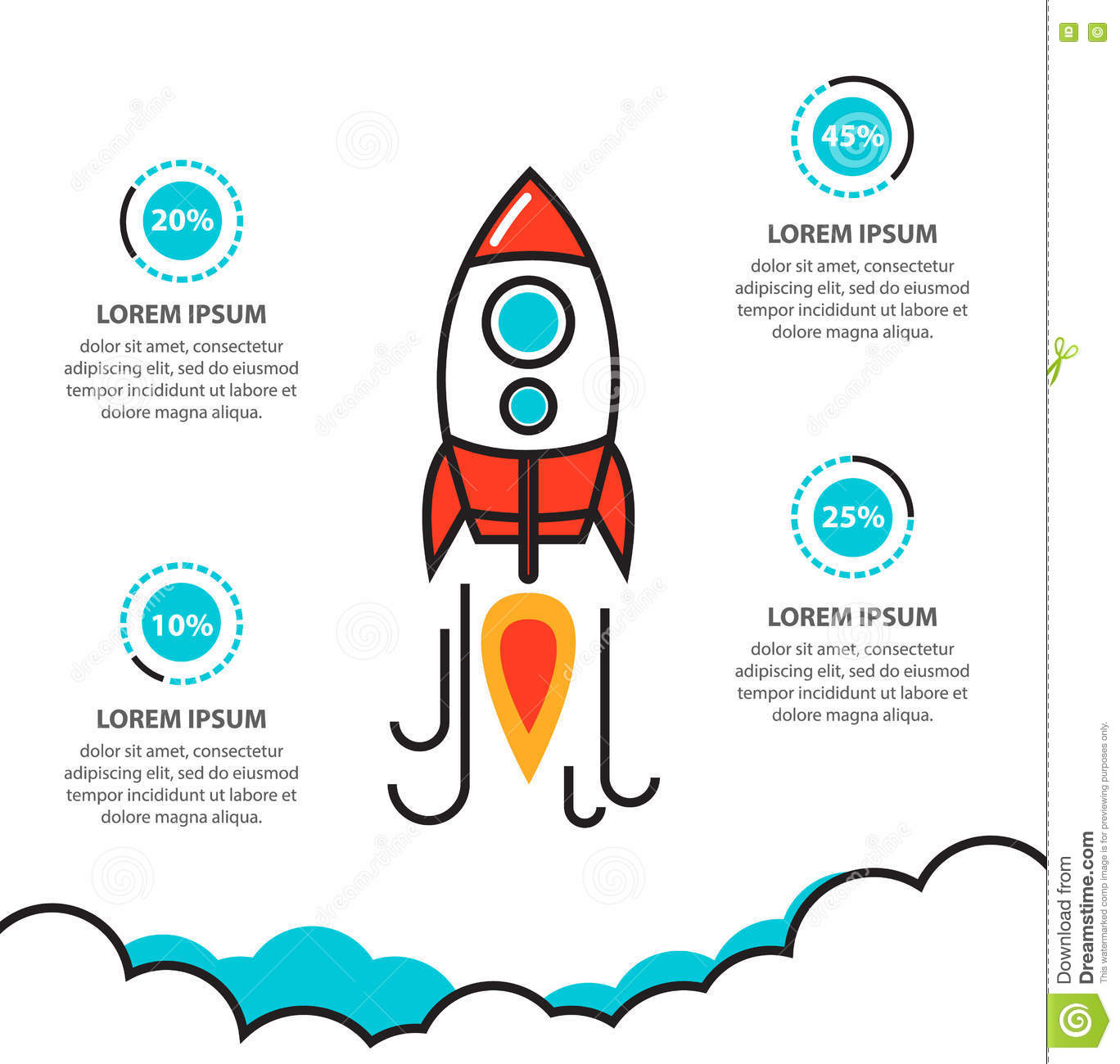 business project startup infographic with rocket template stock vector image 74673515. Black Bedroom Furniture Sets. Home Design Ideas