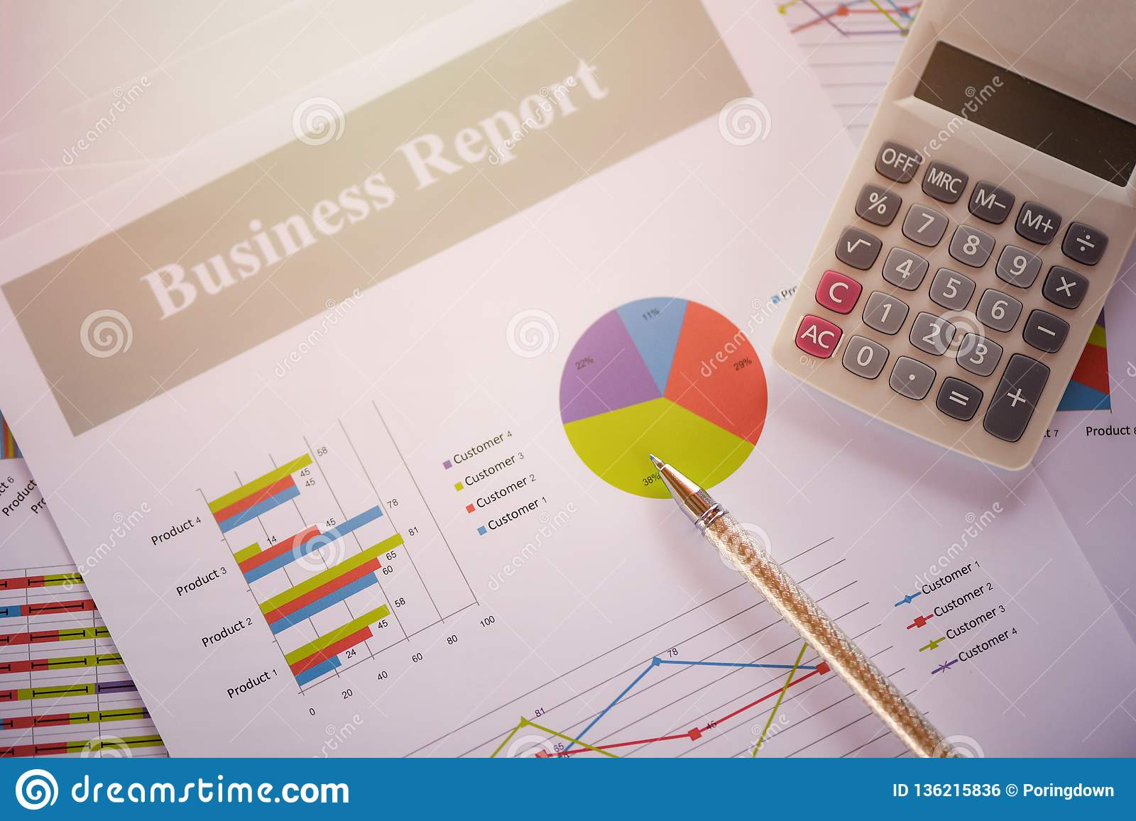Business report chart preparing graphs calculator concept Summary report in Statistics circle Pie chart on paper business document