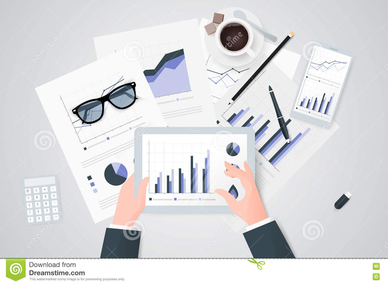 Business Reports On Paper Sheet, Modern Electronic And Mobile ...