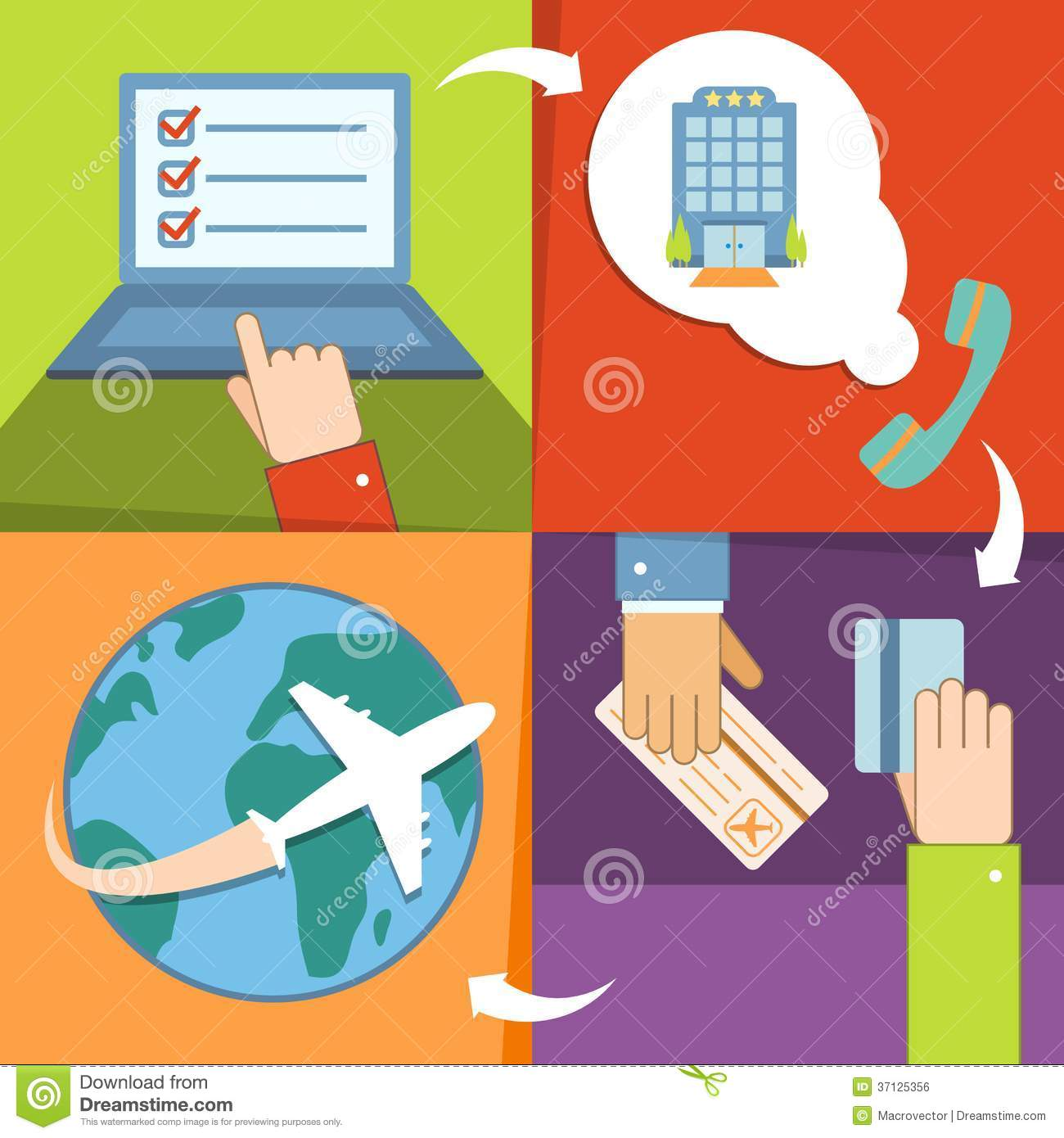 Buy Travel Tickets Online: Business Reservation And Booking Icons Set Royalty Free