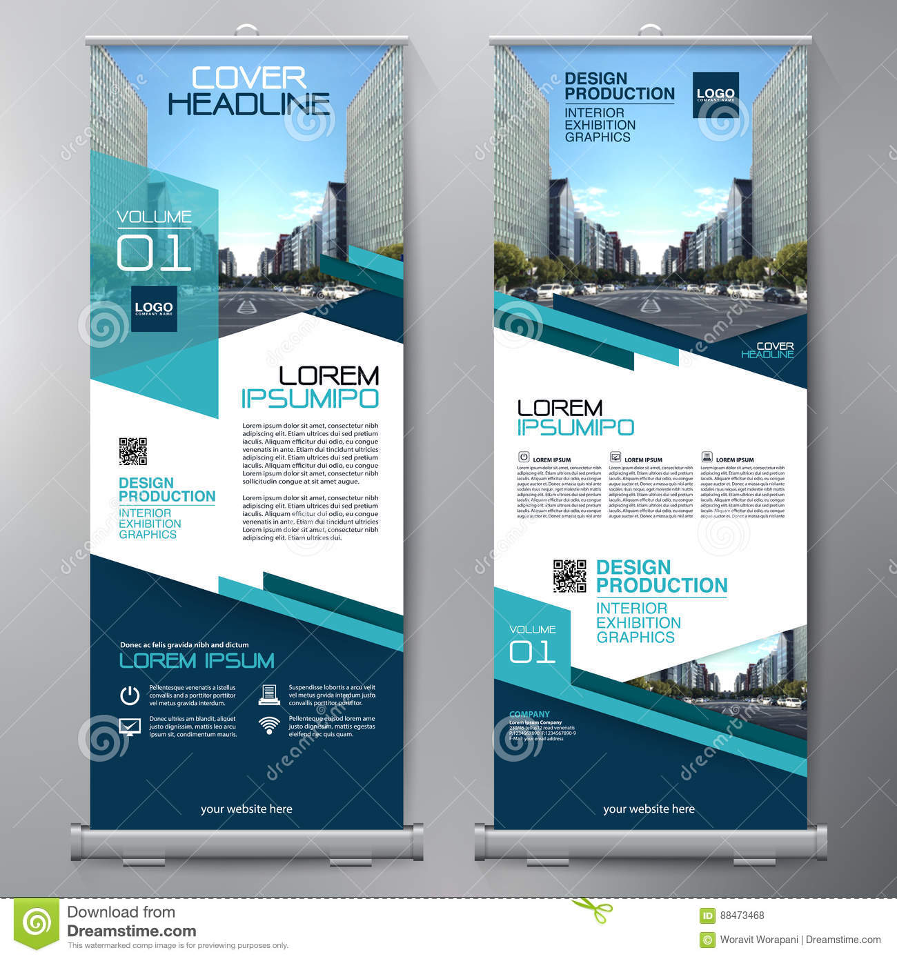 Business Roll Up Standee Design Banner Template Stock