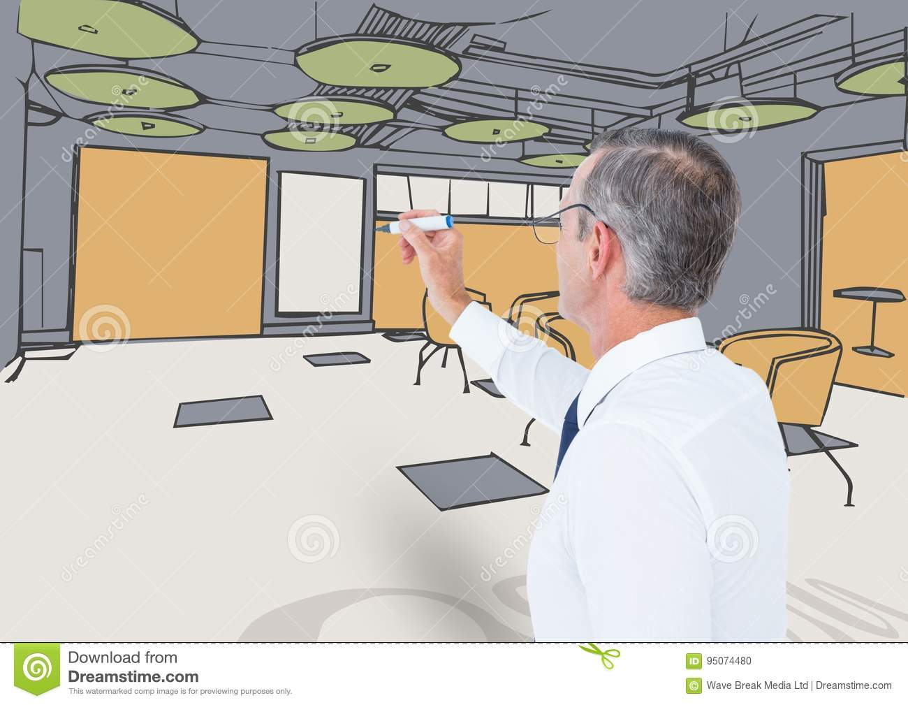 Drawing Lines In Office : Business senior man drawing office lines with color stock photo