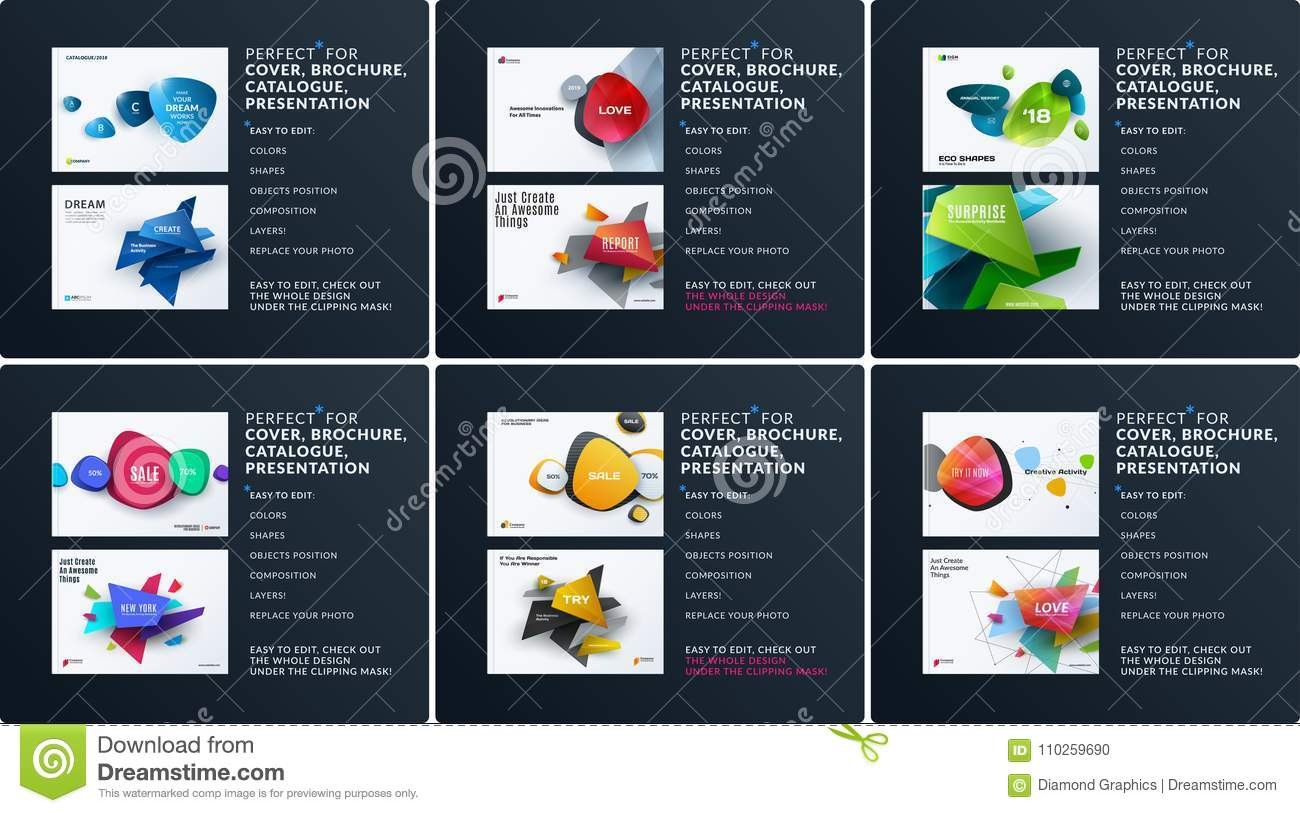 Business set of design brochure, abstract annual report, horizontal cover layout, flyer in A4 with vector colourful