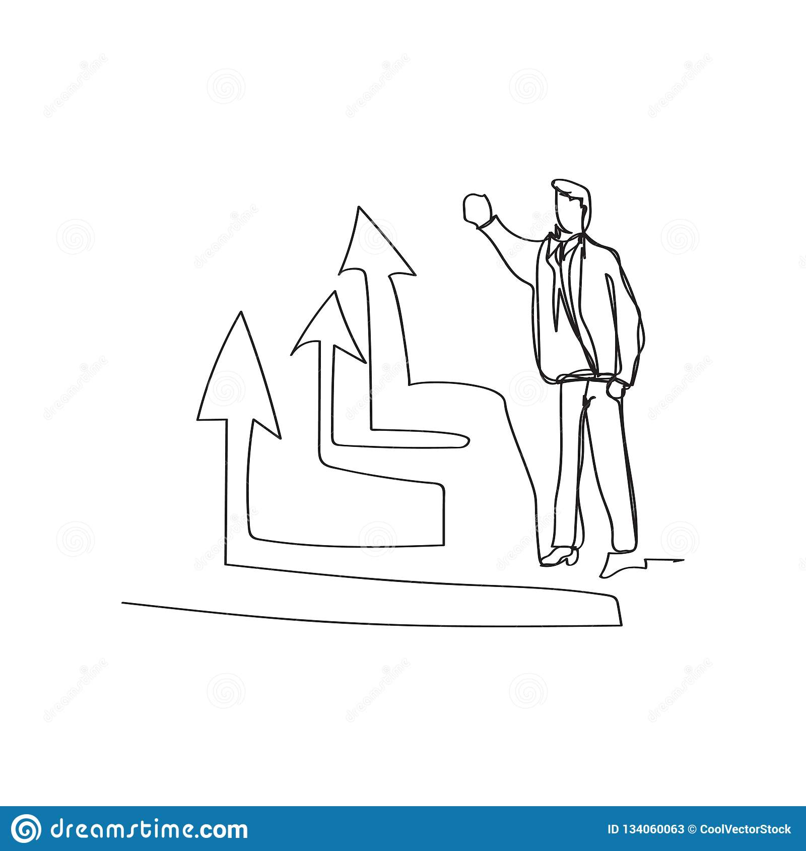 business situation - standing businessman presenting rising diagram in continuous line drawing style, thin linear vector