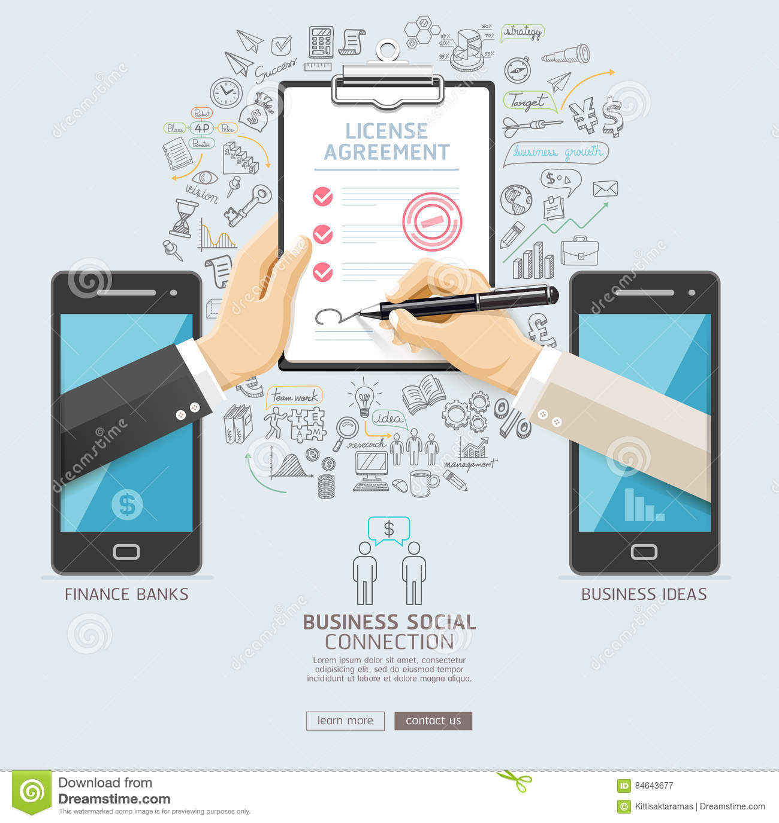 Business Social Connection Technology Conceptual Design Stock