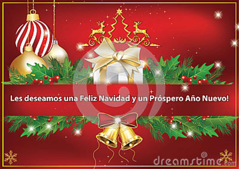 business spanish greeting car we wish you merry christmas and happy new yearspanish text los deseamos una feliz navidad y un prospero ano nuevo