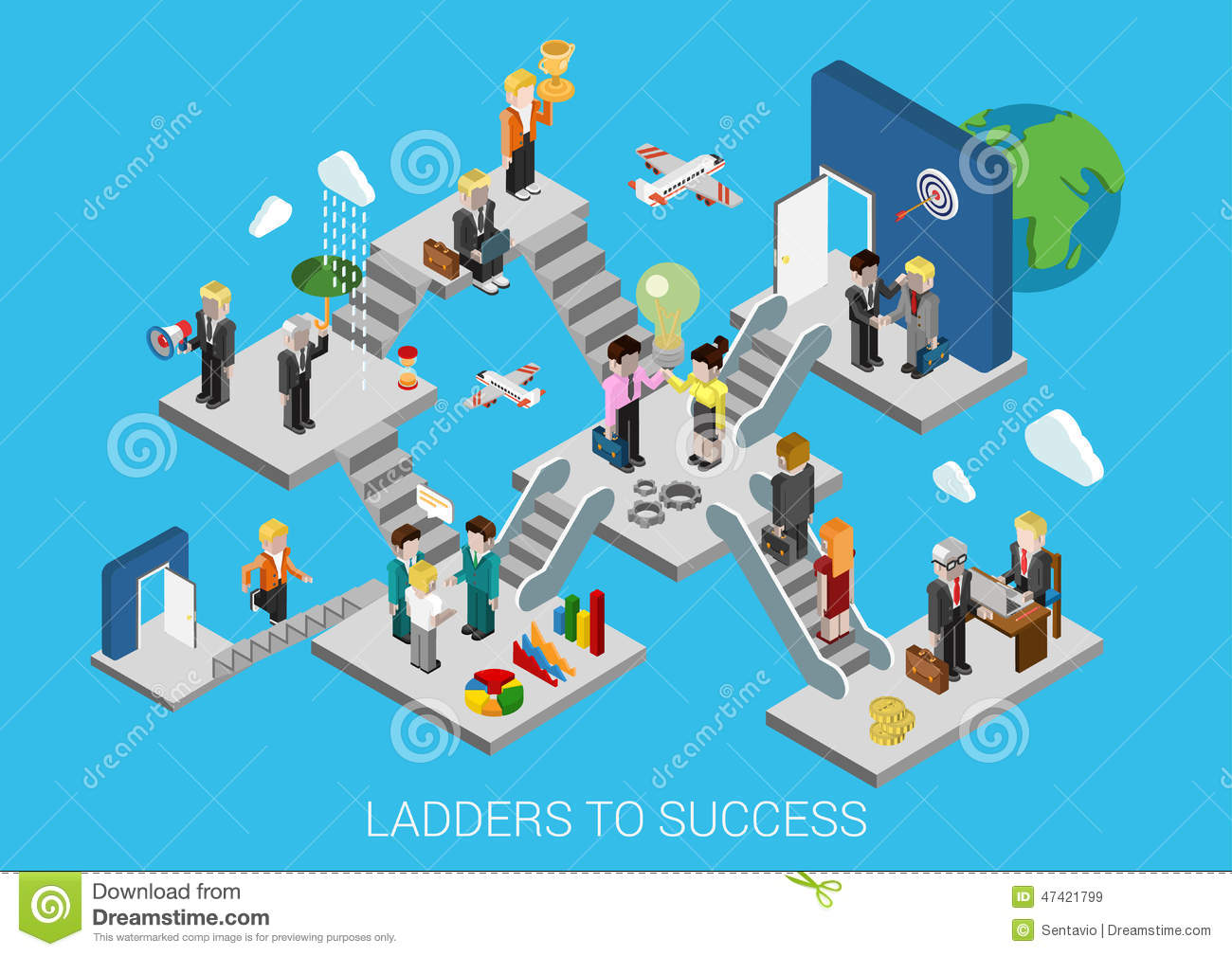 Business Start Succes Flat 3d Isometric Infographic ...