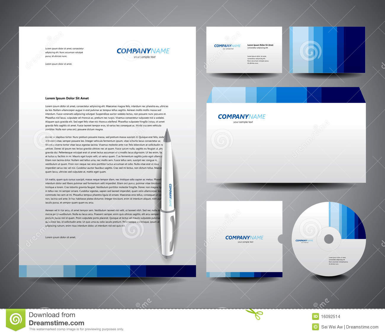 business stationery template blue