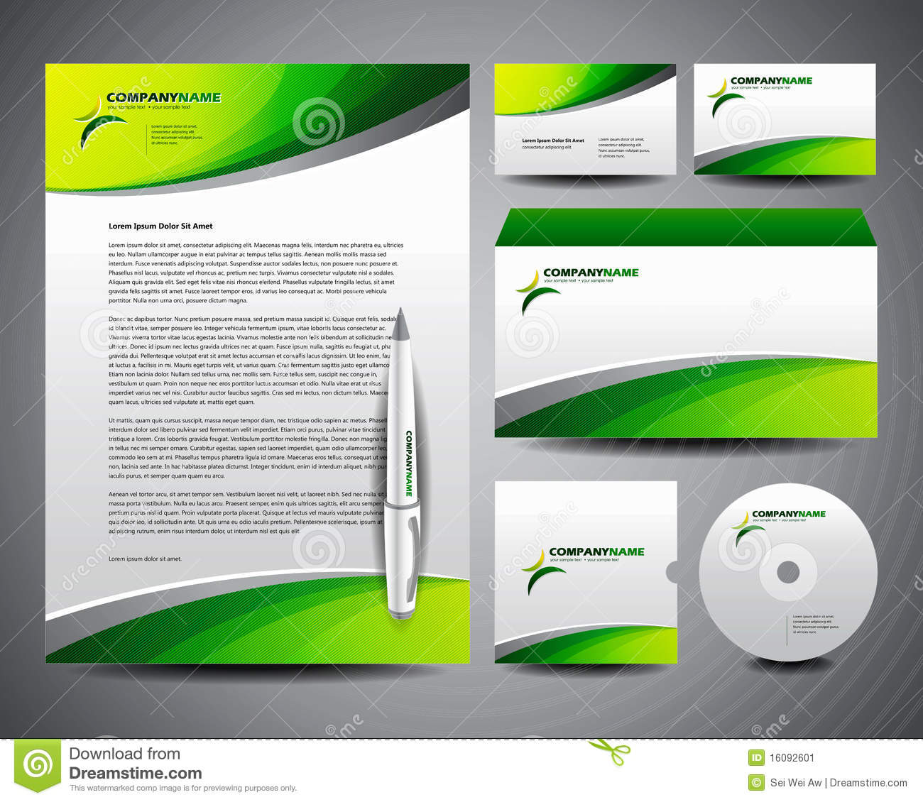 business stationery template green stock vector illustration of