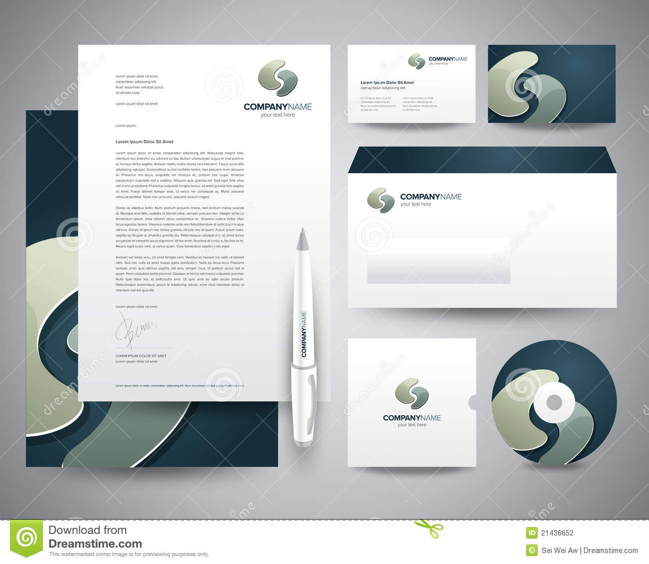 Business Stationery Template Turquoise Stock Photography - Image ...