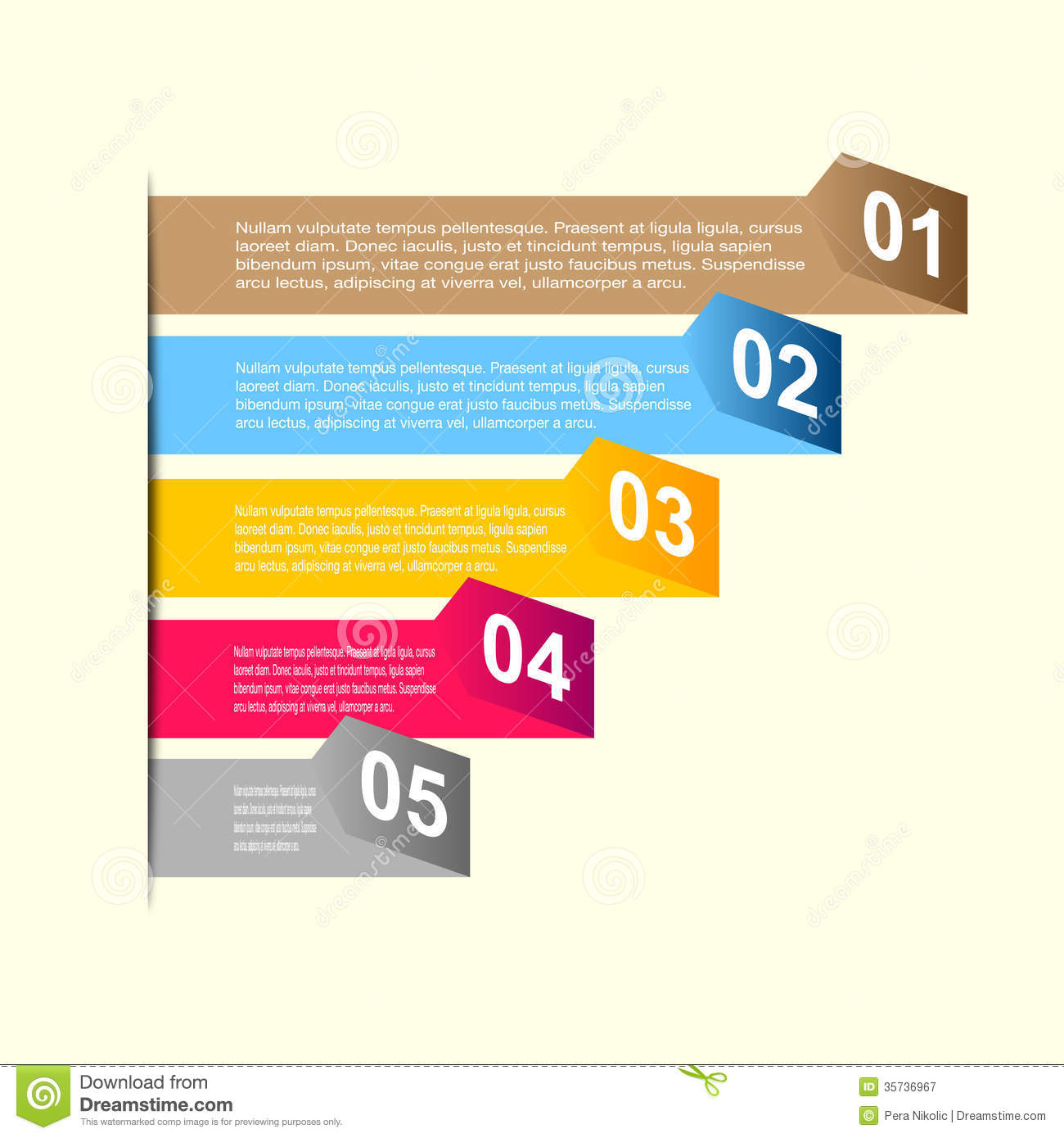 business step paper and numbers design template stock vector