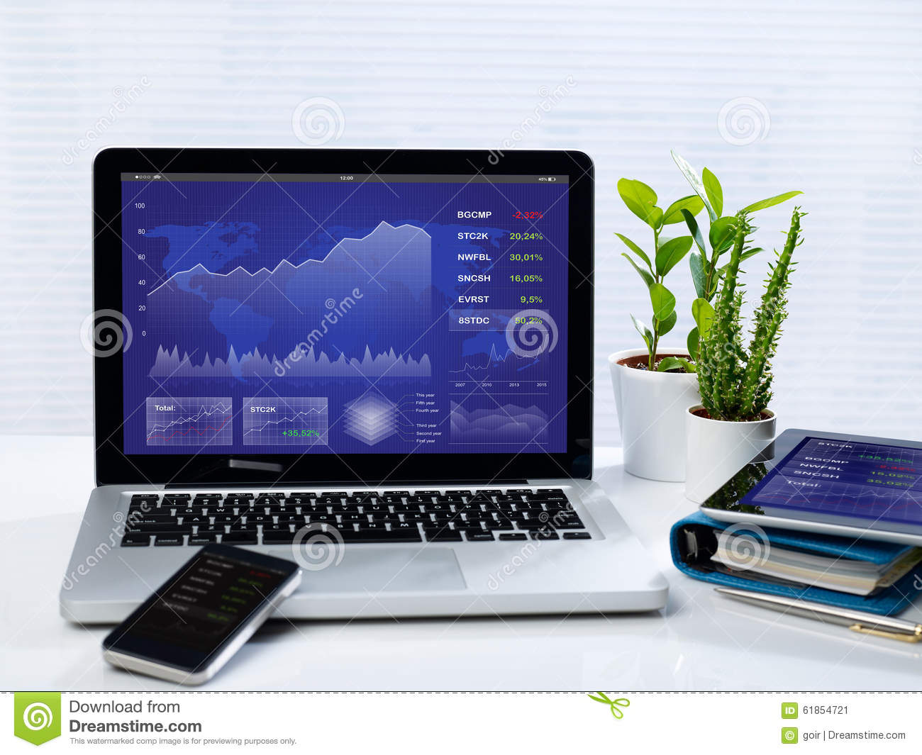 Business stocks on mobile devices stock photo image 61854721 - Office for mobile devices ...