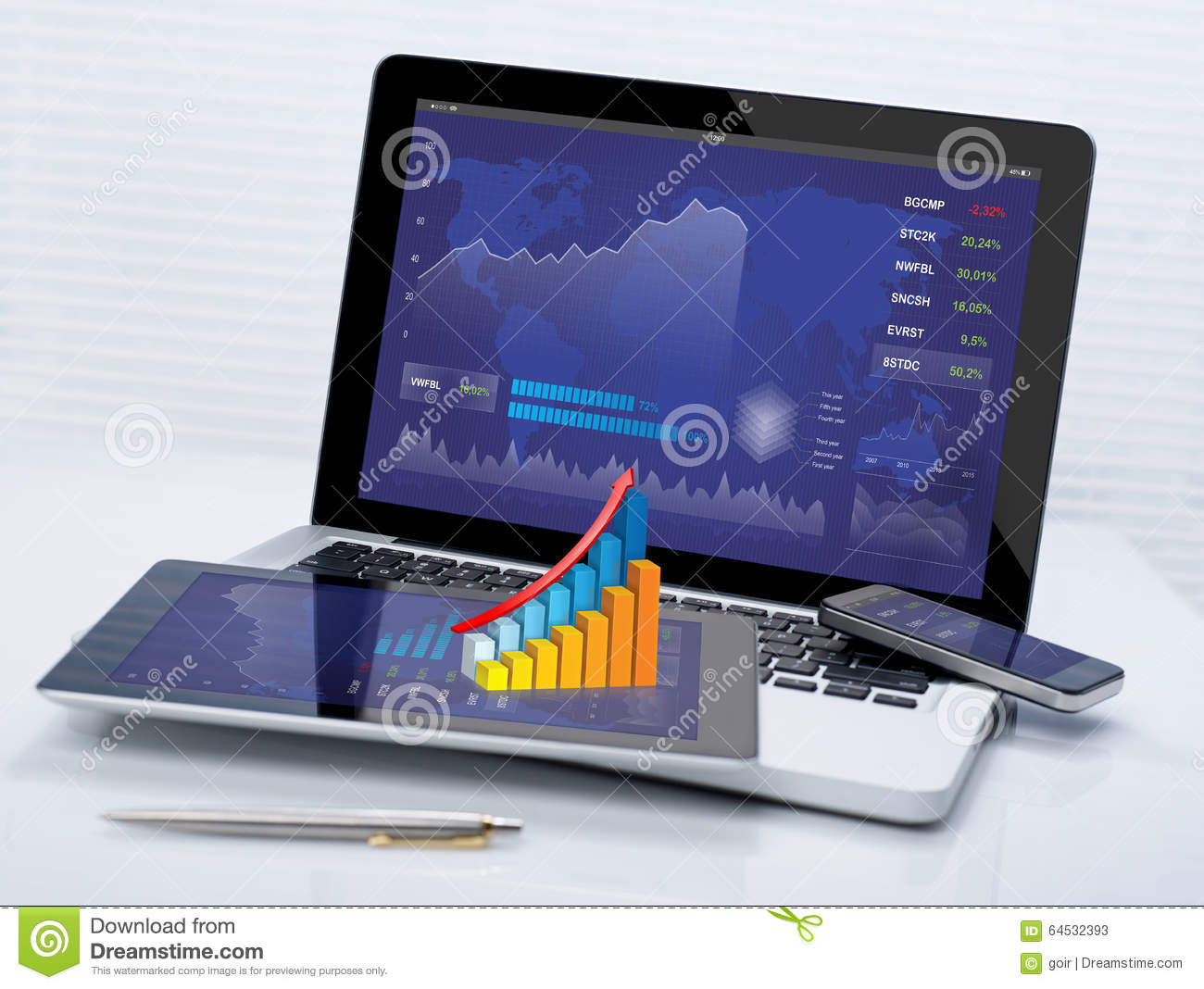 Business stocks on mobile devices stock image image of chart desk 64532393 - Office for mobile devices ...