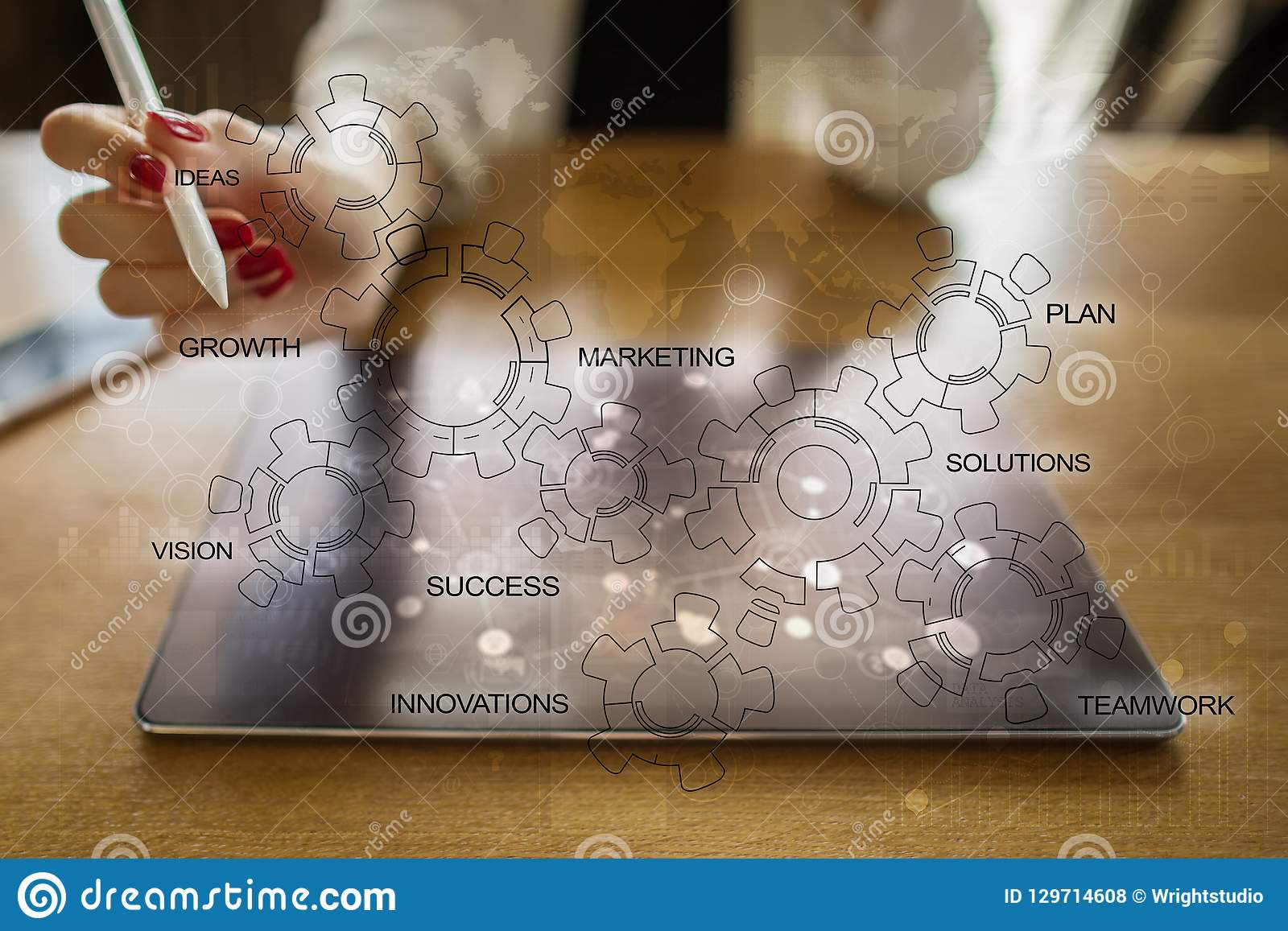 Business strategy concept with gears diagram. Idea innovation motivation.