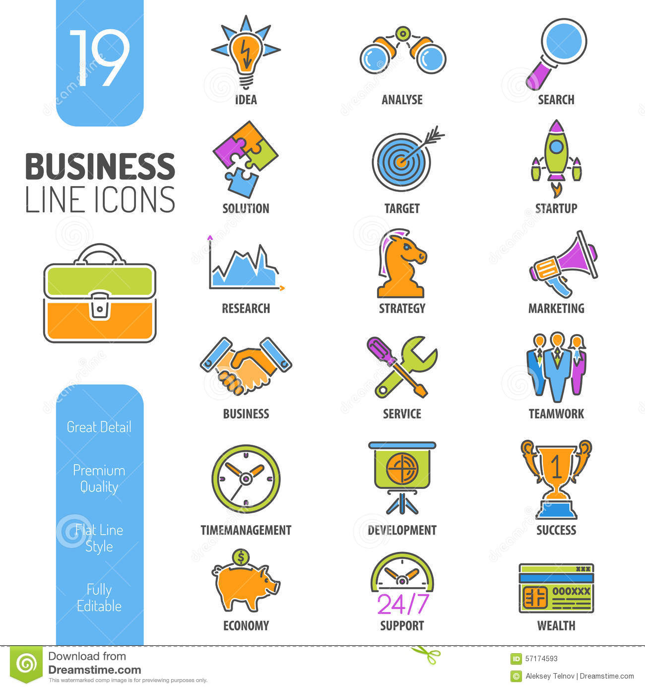 Business Strategy Thin Lines Color Web Icon Set Stock Vector ...