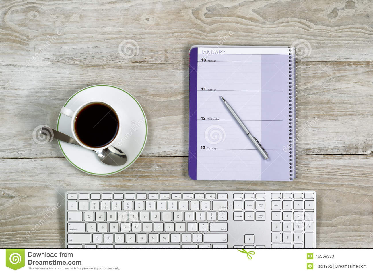 Business Stuff On White Wooden Desktop Stock Photo