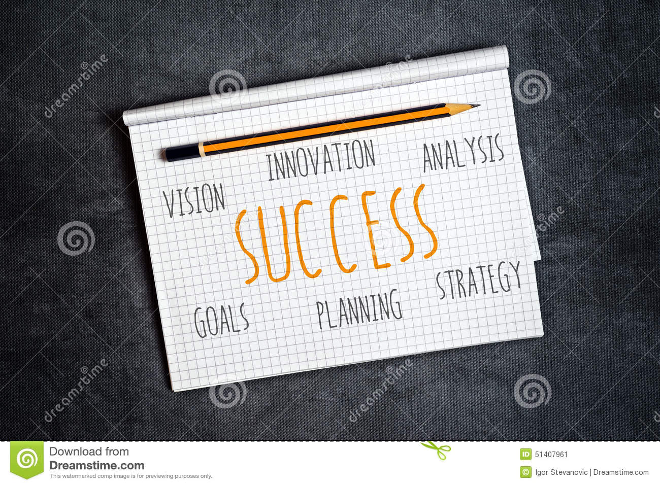Business Success Components In Notebook Stock Image Image Of Pages
