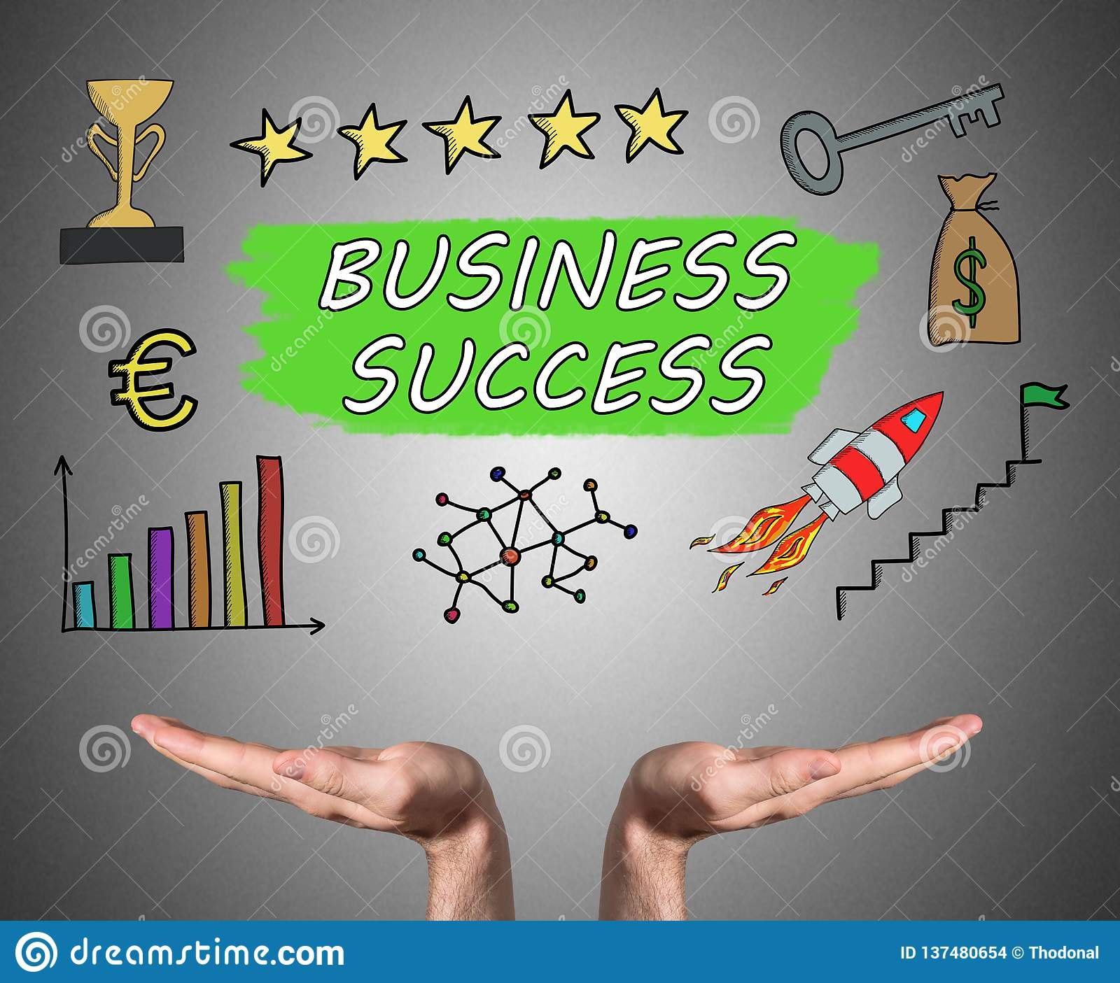 Business success concept sustained by open hands. Open hands sustaining business success concept stock images